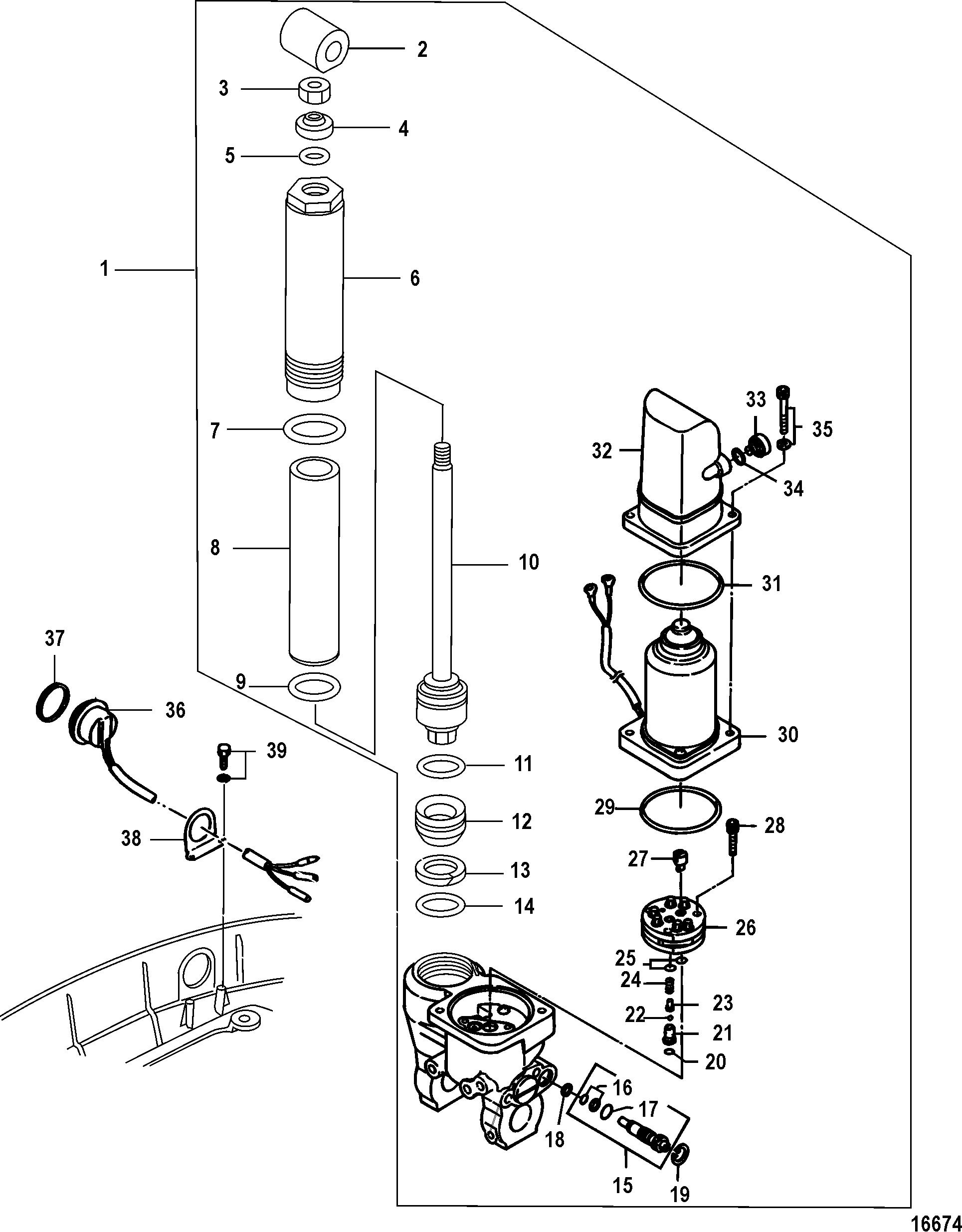 power trim tilt components for mariner mercury 25 30 jet 25 efi 3 cylinder 4 stroke