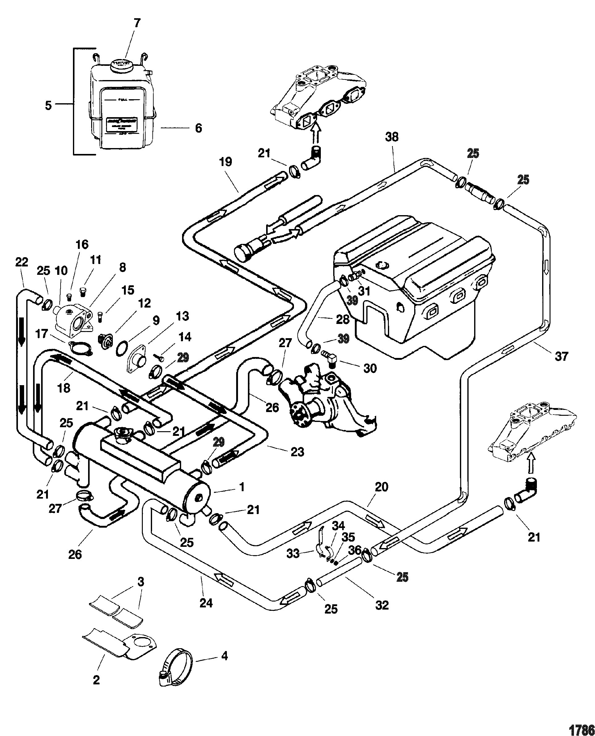 closed cooling system for mercruiser 4 3l efi alpha bravo 262 c i d gen 3 8 Dodge  Engine Block 2004 Dodge Grand Caravan Engine Diagram