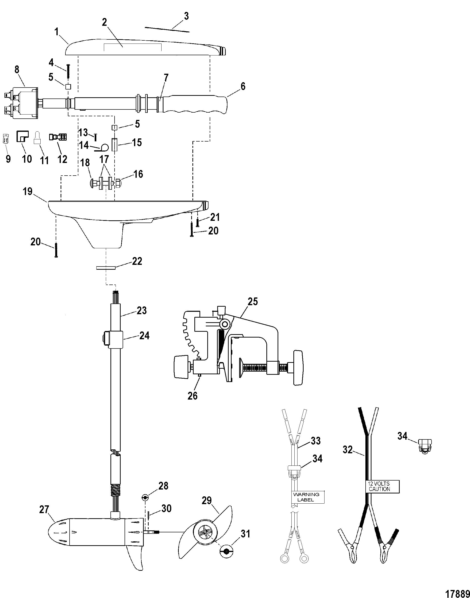 complete trolling motor model t34 12 volt for motorguide