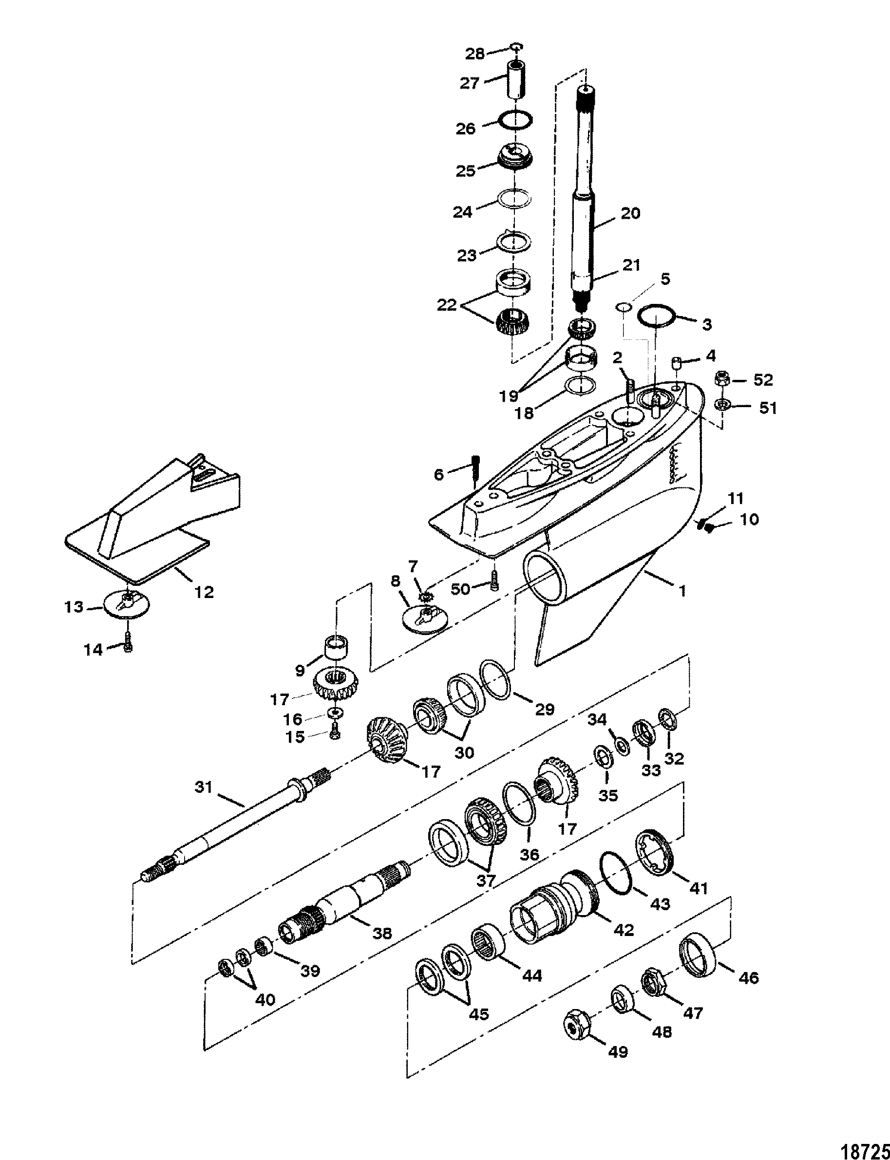 GEAR HOUSING(BRAVO III) FOR MERCRUISER BRAVO I/II/III STERNDRIVE AND  TRANSOM ASSEMBLY