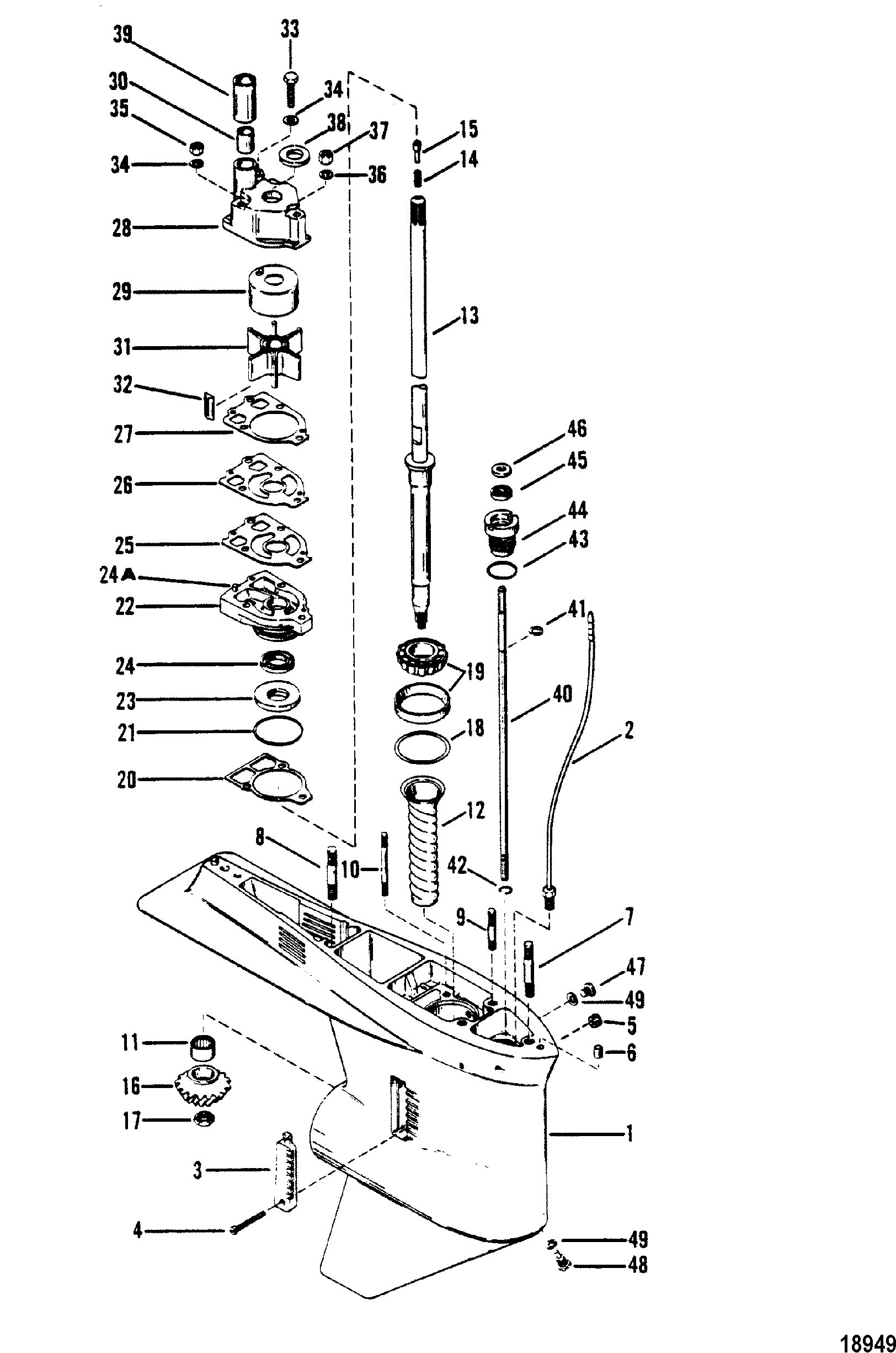 gear housing driveshaft without a driveshaft nut for