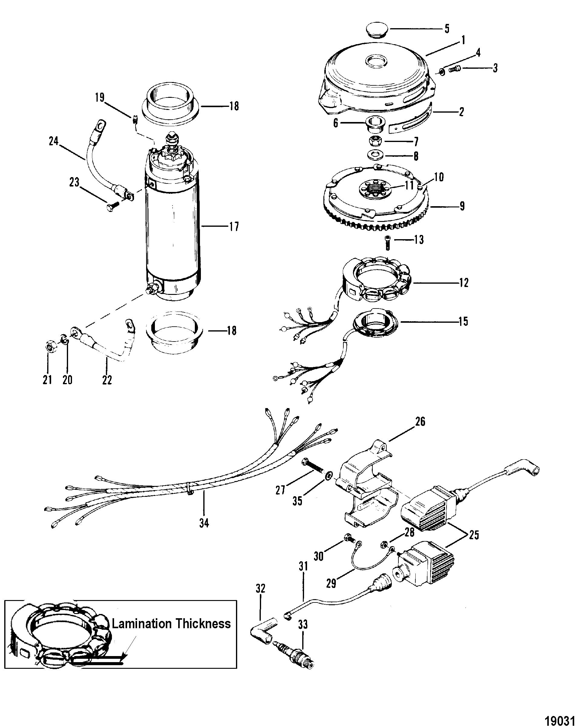 flywheel  starter motor and ignition coils for mariner