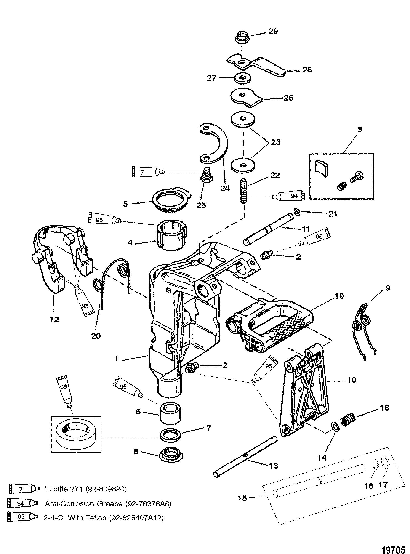 diagram of p.8 mercury motor swivel bracket for mariner    mercury    6 8 sailmate 9 9  swivel bracket for mariner    mercury    6 8 sailmate 9 9