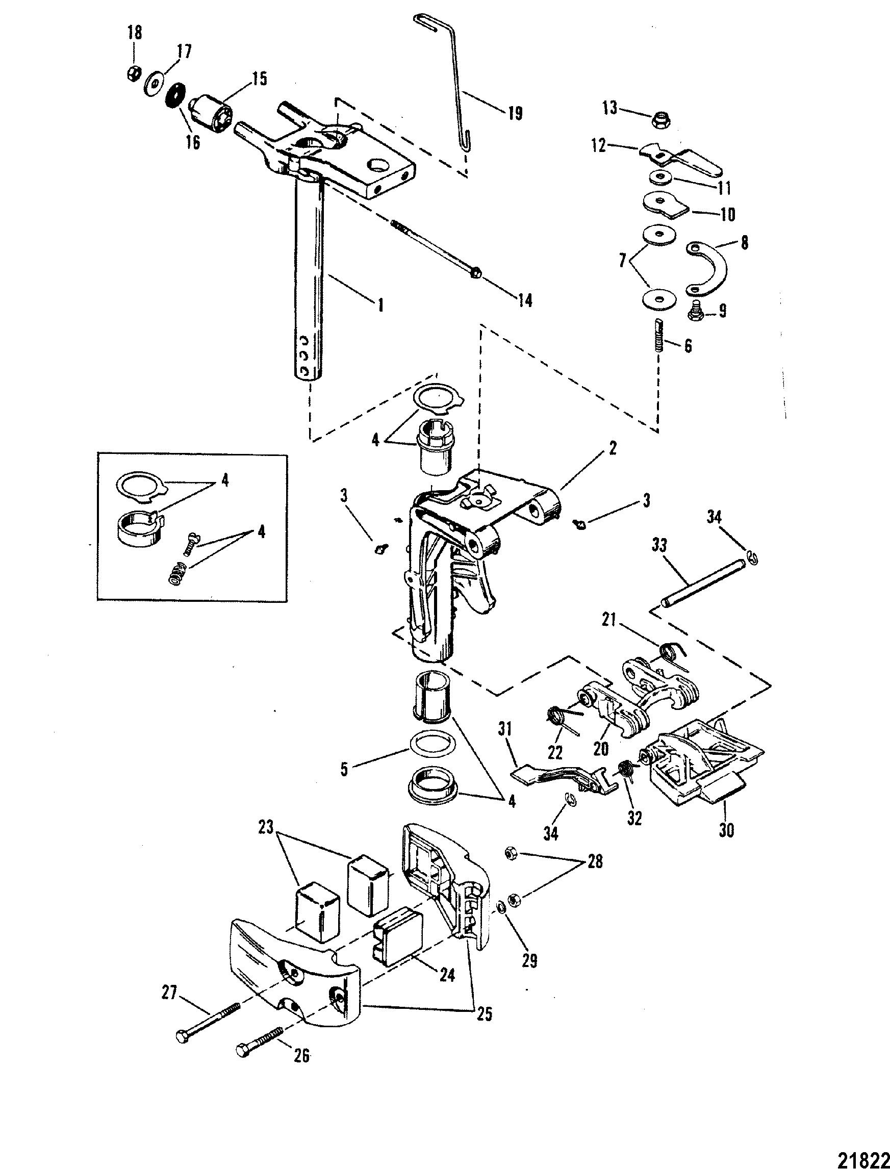 swivel bracket assembly for mariner    mercury 20 h p   25 h