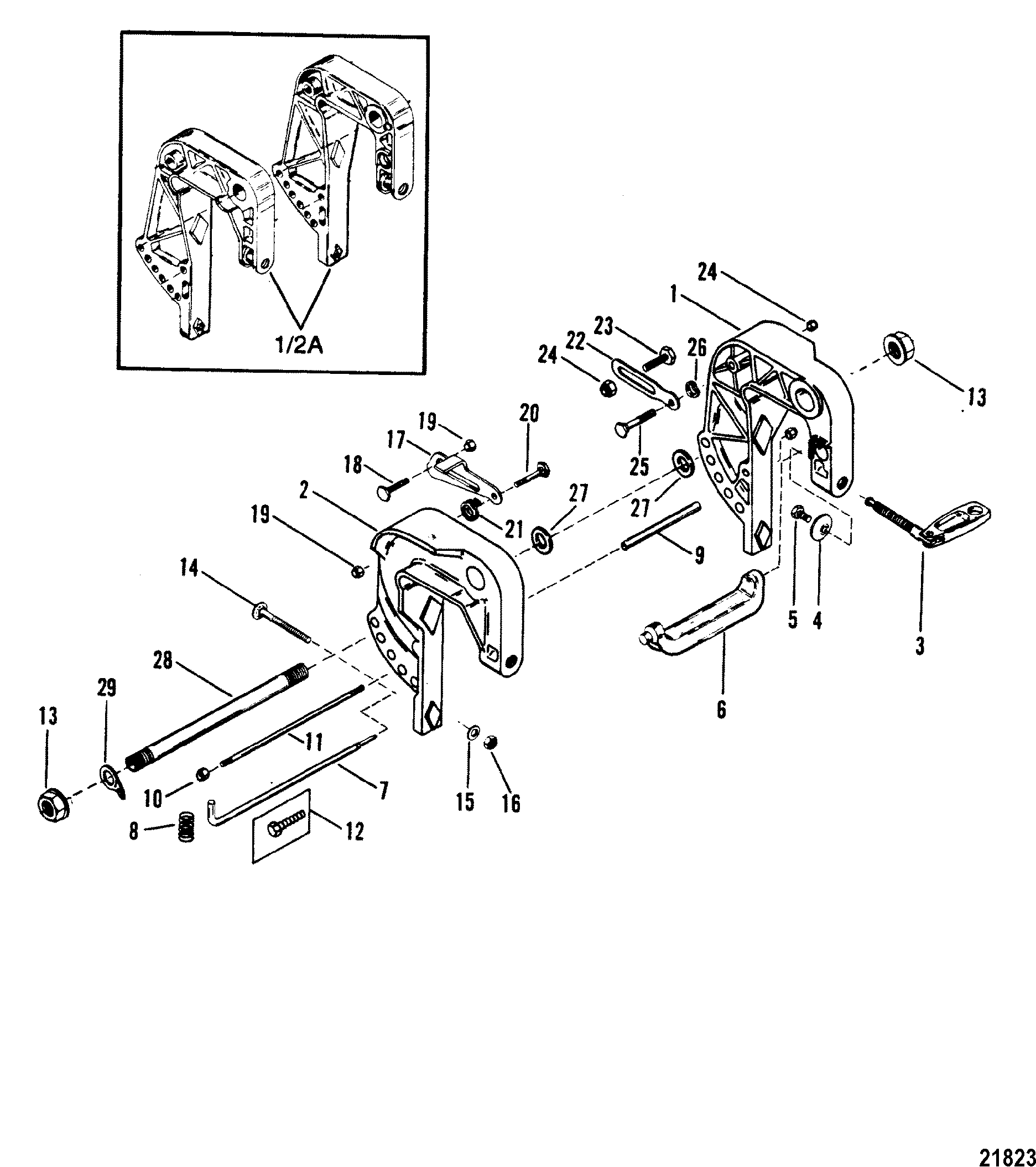 Clamp Bracket Assembly FOR MARINER / MERCURY 20 H.P /25 H.P. SEA PRO  /MARATHON 25 SUPER 15