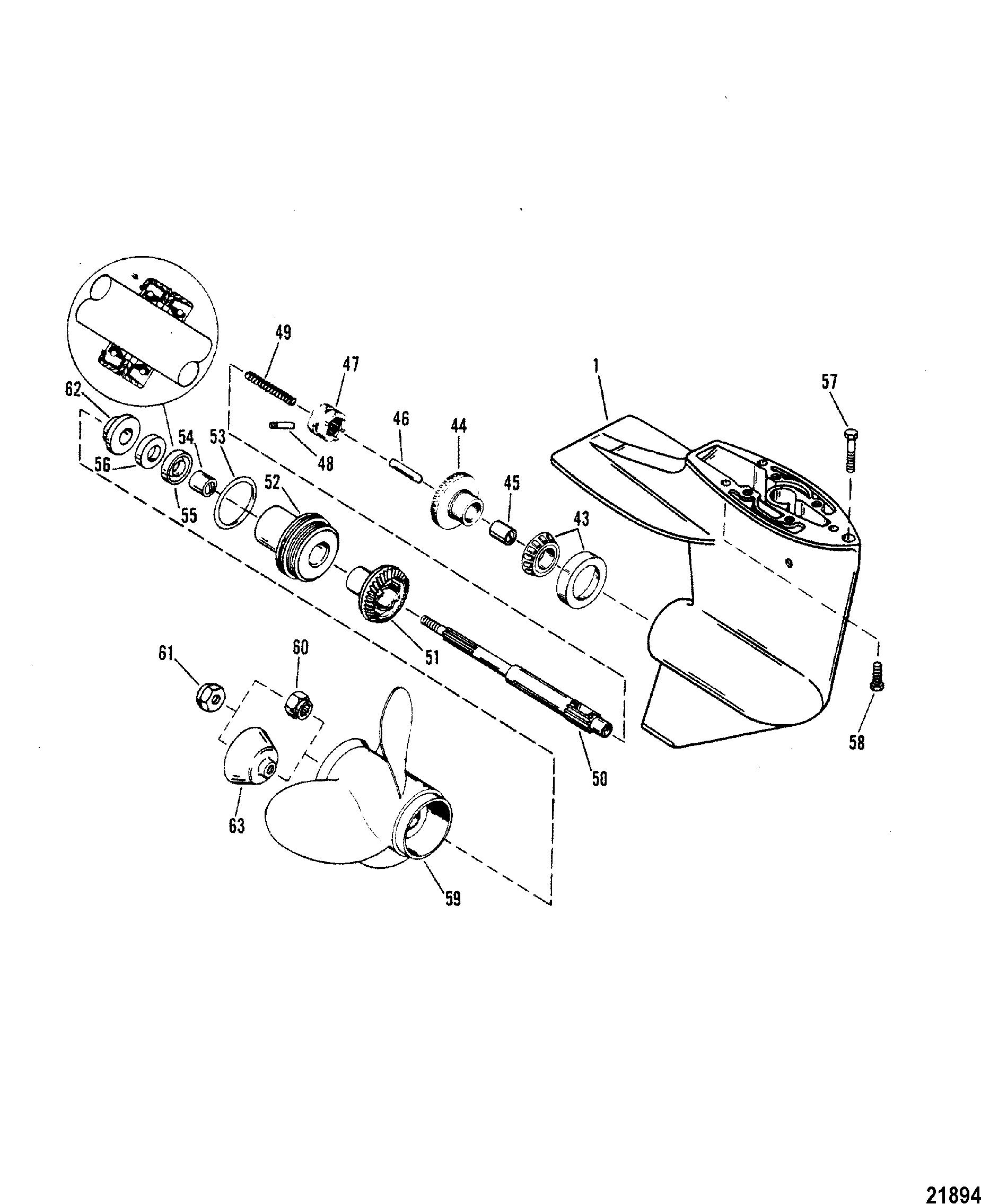 gear housing propeller shaft for mariner    mercury sea pro