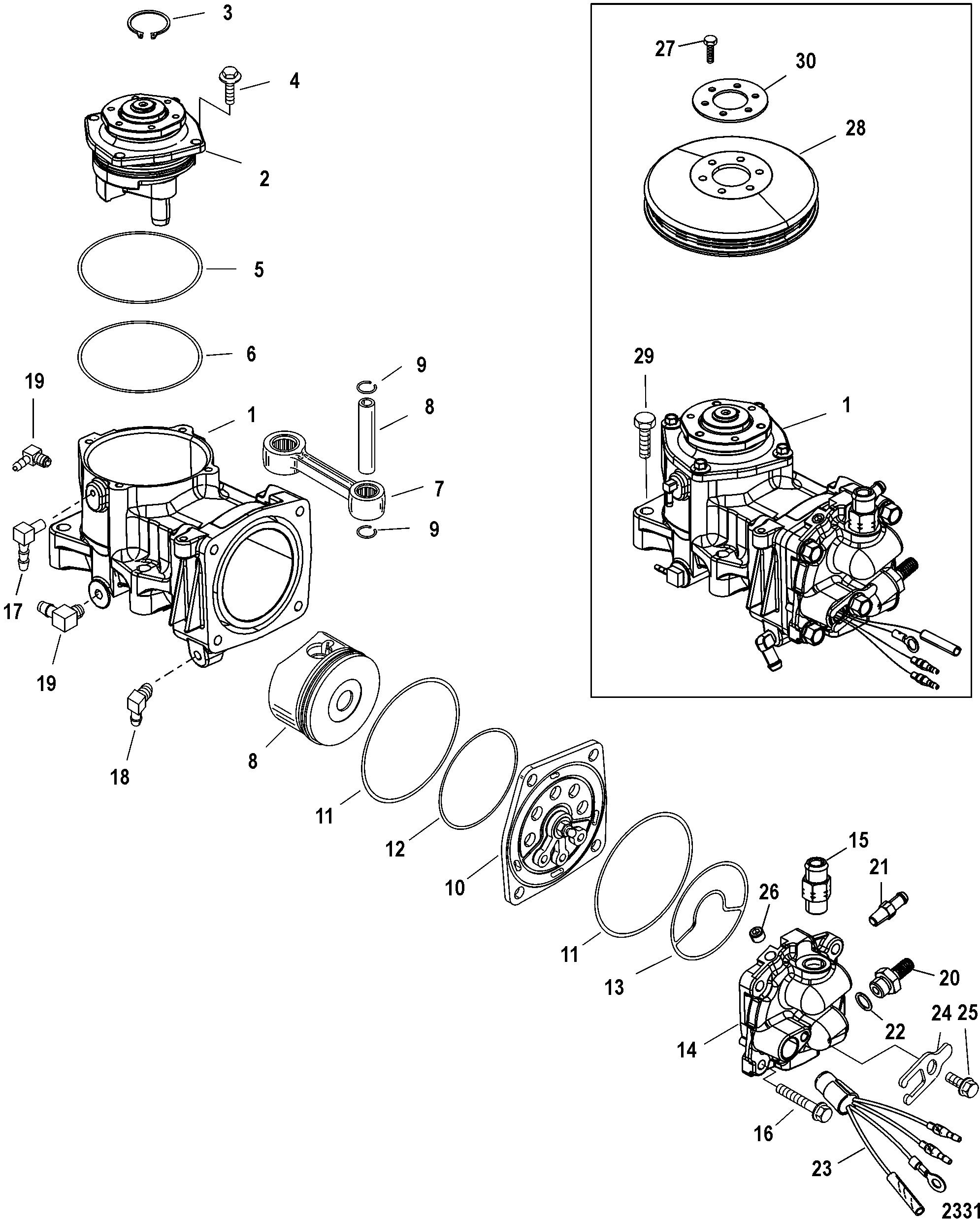 air compressor components for mercury 250 pro xs 3 0l