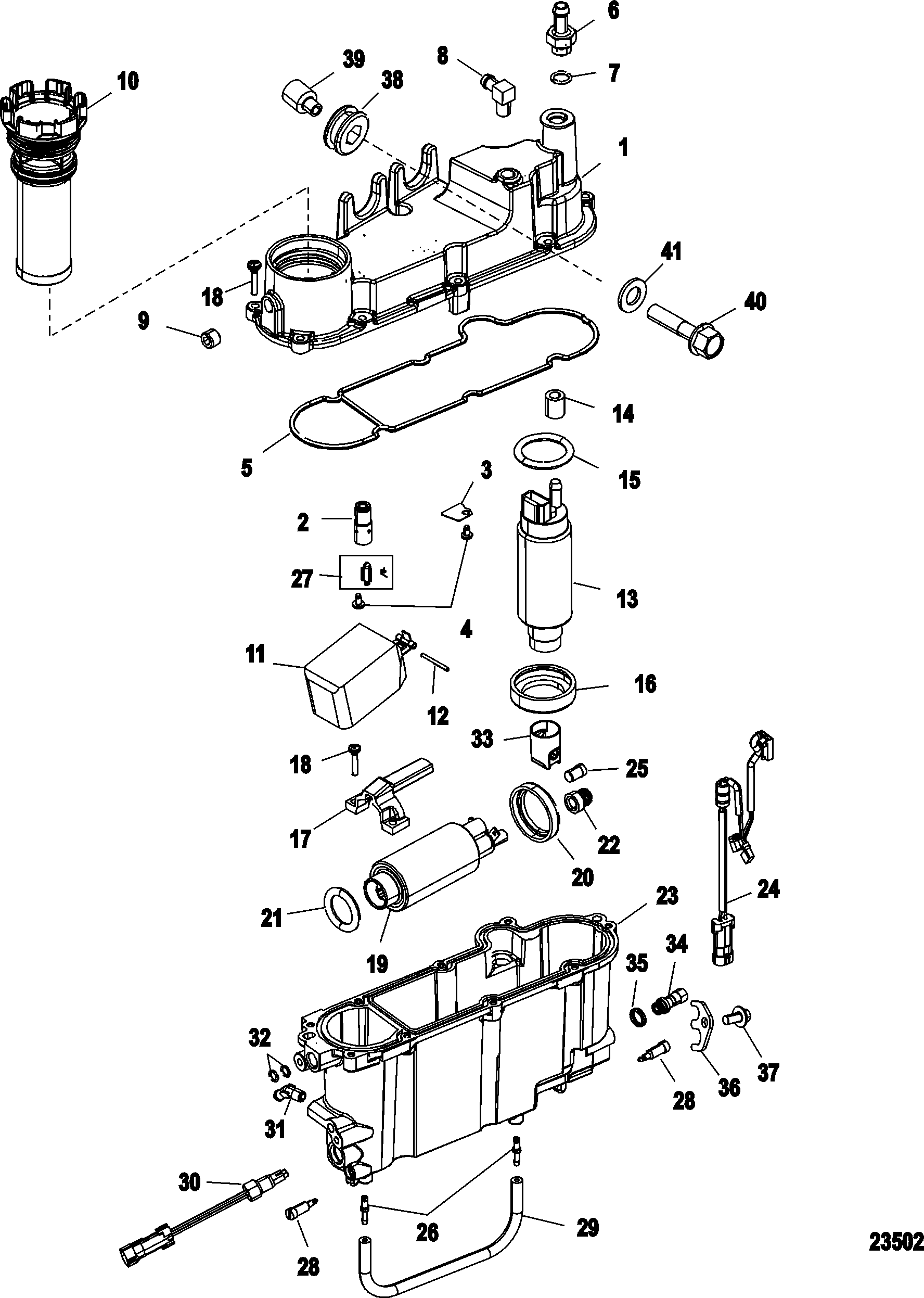 vapor separator components for mercury    race outboard