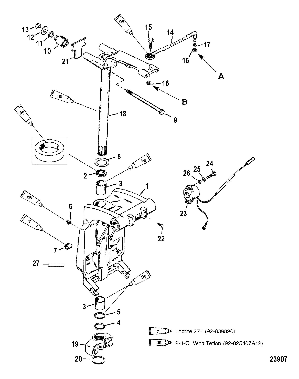 Swivel Bracket And Steering Arm For Mariner    Mercury 135