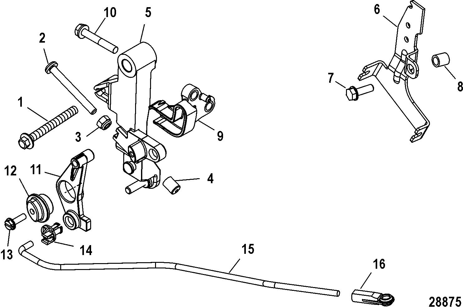 throttle linkage  tiller for mariner    mercury 40  50  60  jet 40 efi