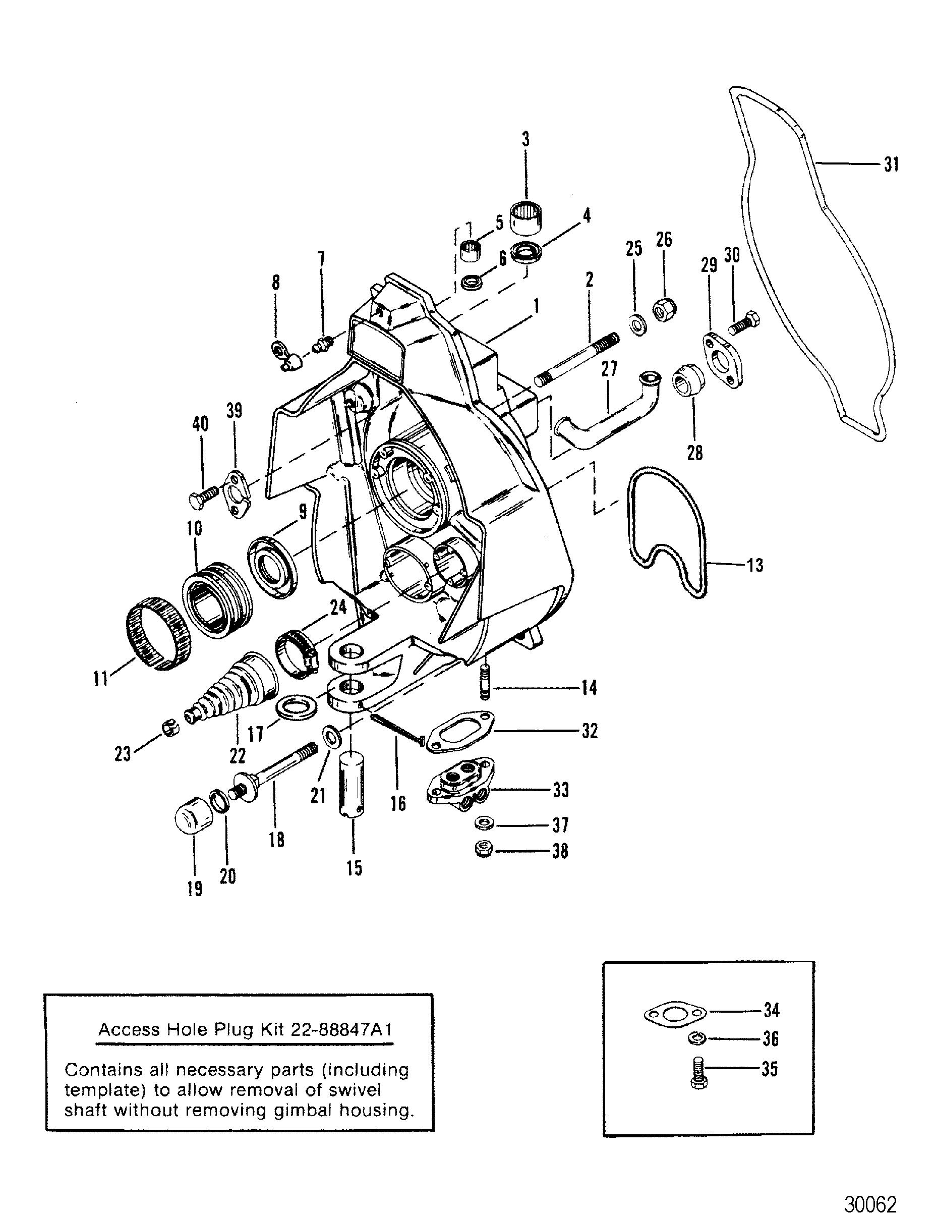 gimbal housing square  splined upper swivel shaft for mercruiser r  mr alpha one sterndrive