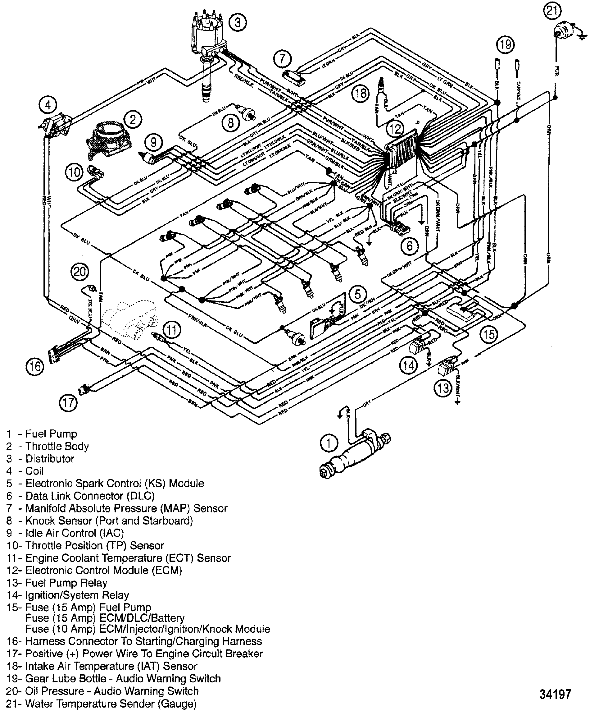 34197 wiring harness efi for mercruiser 7 4l mpi bravo l29 gen vi mercruiser wiring harness diagram at bayanpartner.co