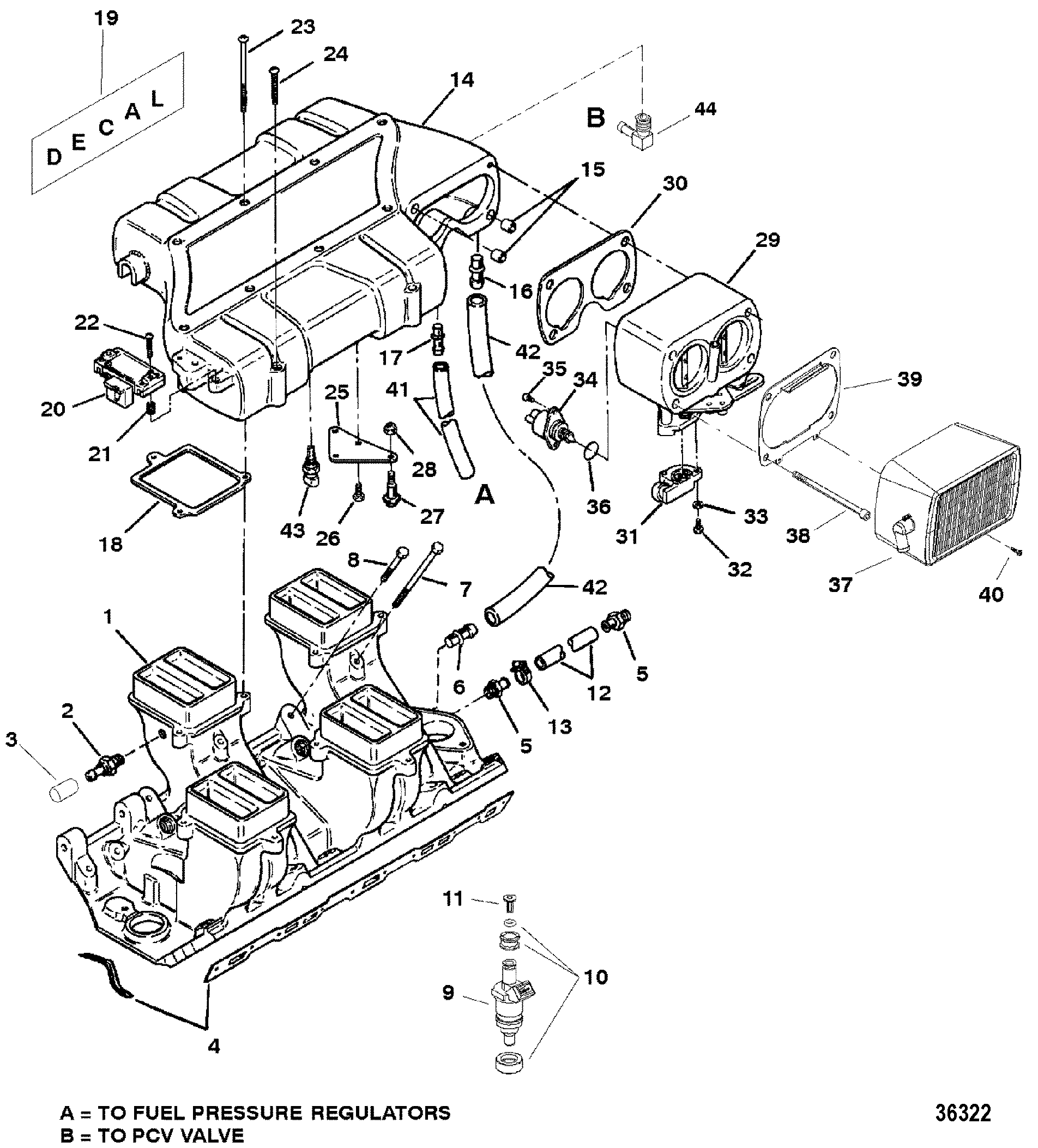 36322 intake manifold and intake plenum for mercruiser 454 502 mpi mag mercruiser 502 mpi wiring diagram at arjmand.co