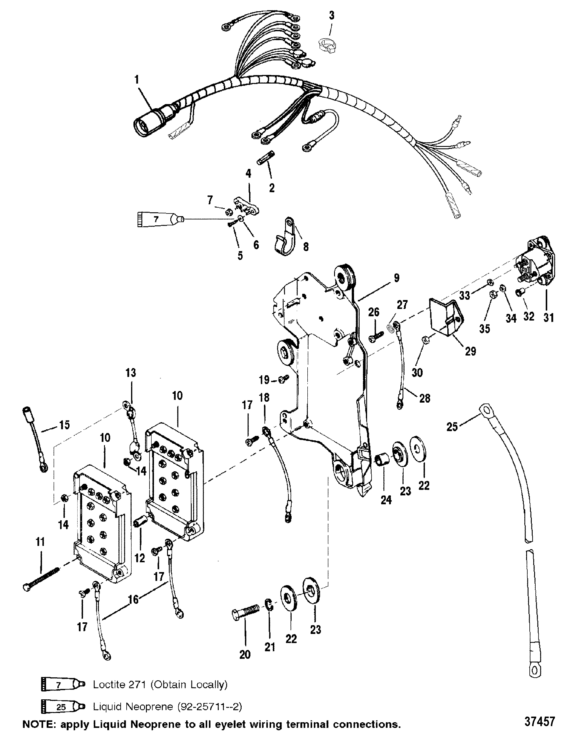 37457 wiring harness starter solenoid for mariner mercury 150 175 200 efi mercury 14 pin wiring harness diagram at gsmx.co