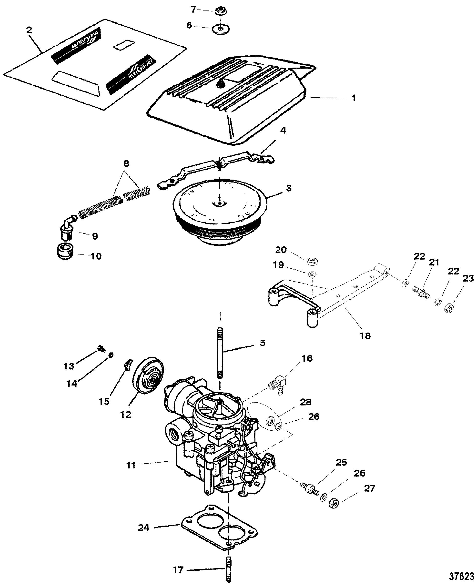 carburetor  throttle linkage 2 barrel for mercruiser 5 7l