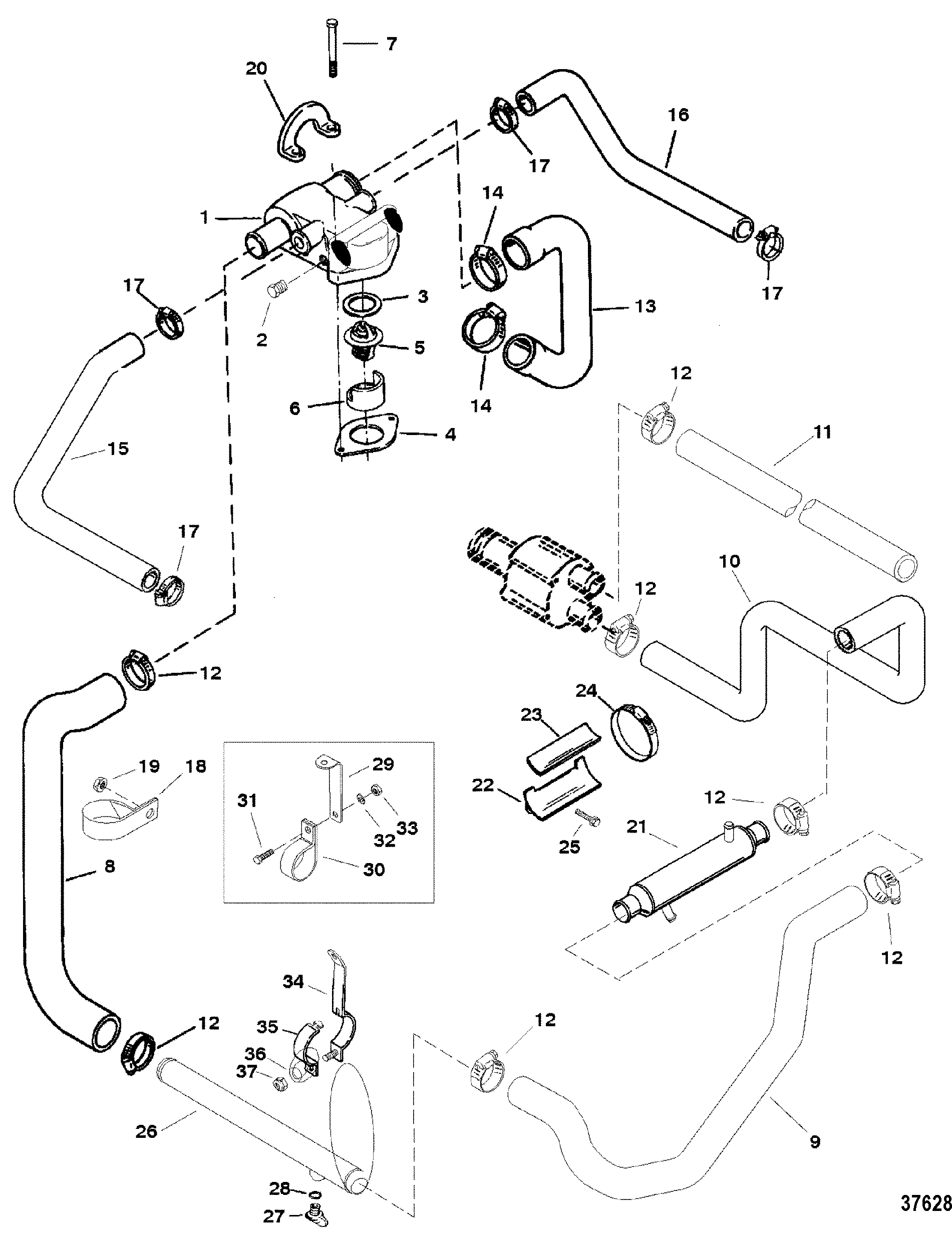 standard cooling system bravo engines for mercruiser 5 7l