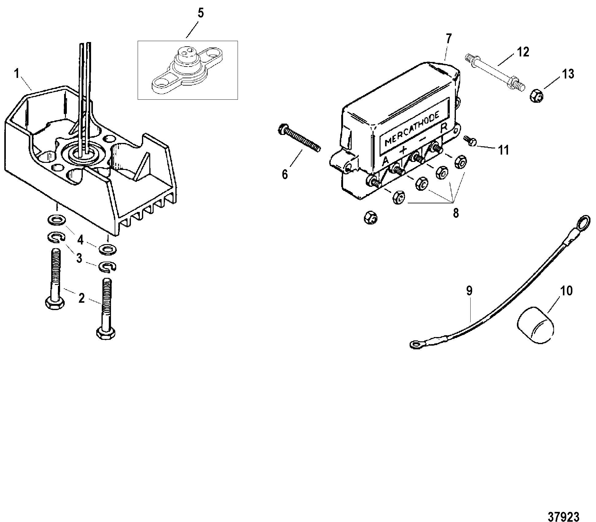 mercathode components for mercruiser 7 4l bravo i  ii  iii