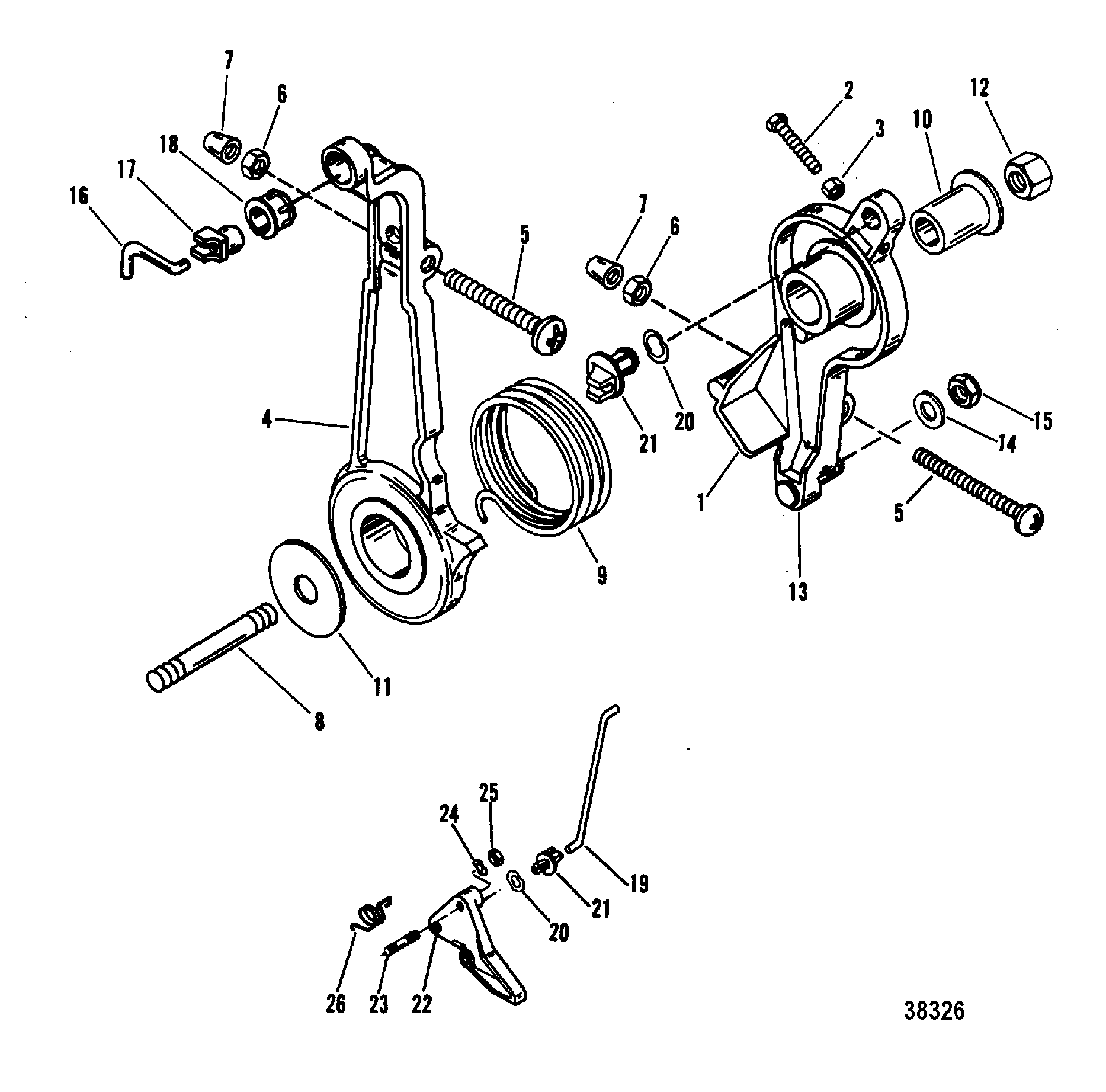 throttle lever and linkage for mariner    mercury 70  75  80
