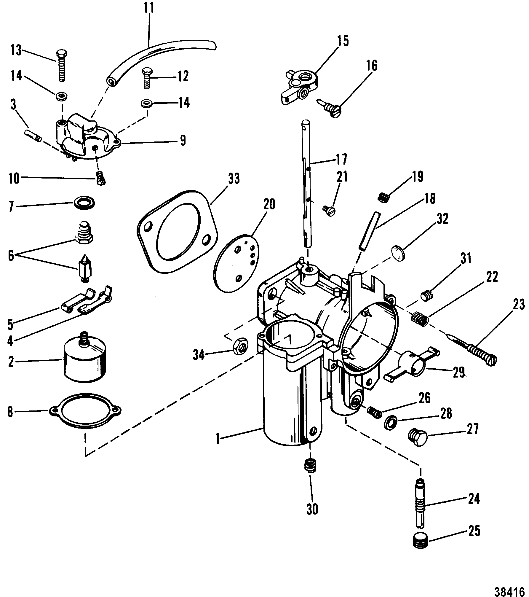 Carburetor For Mariner Mercury 90 115 Hp Inline 1978 Wiring Diagram Zoom