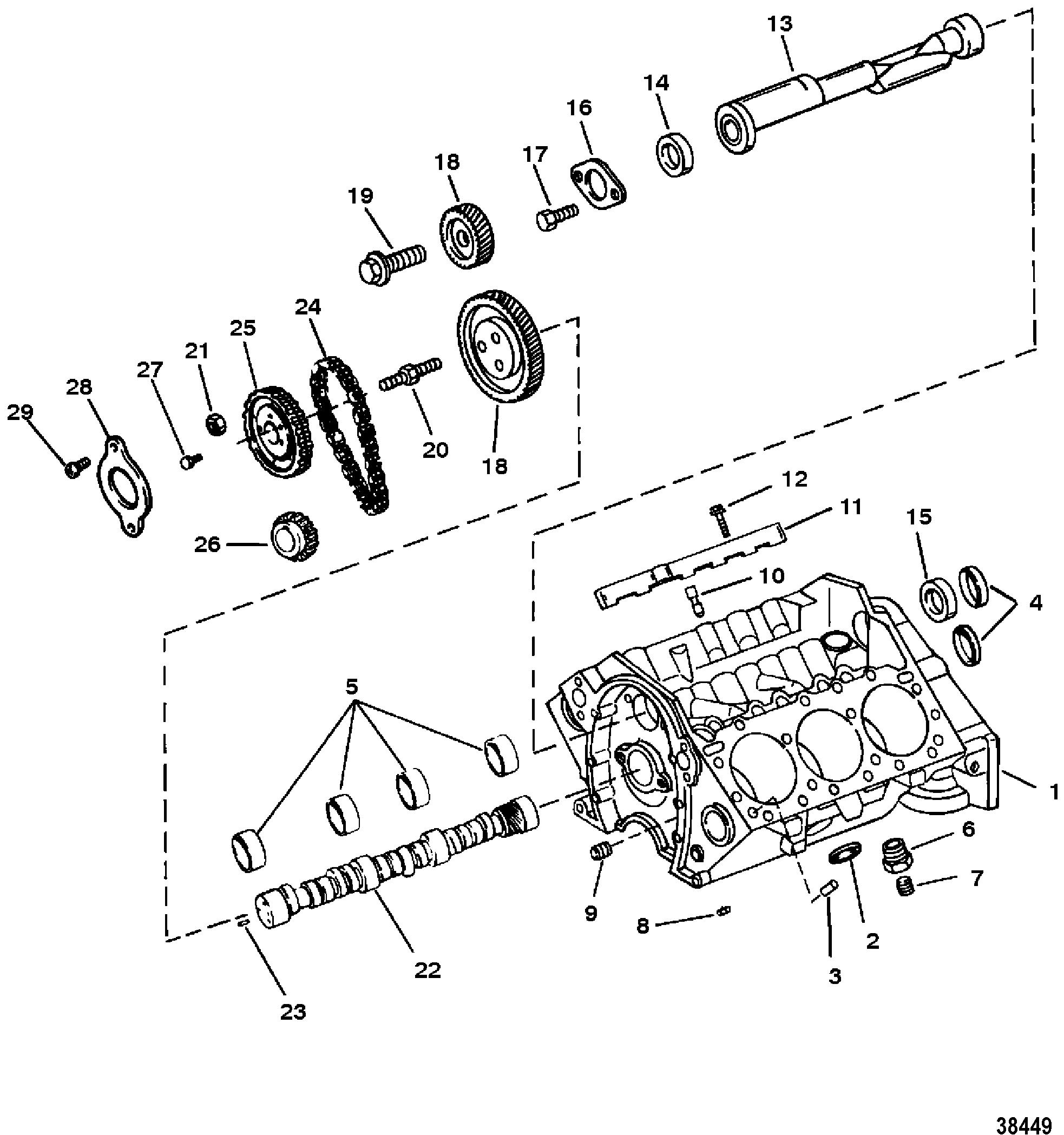 cylinder block and camshaft for mercruiser 4 3l 4 3lx alpha one engine 262 cid ii