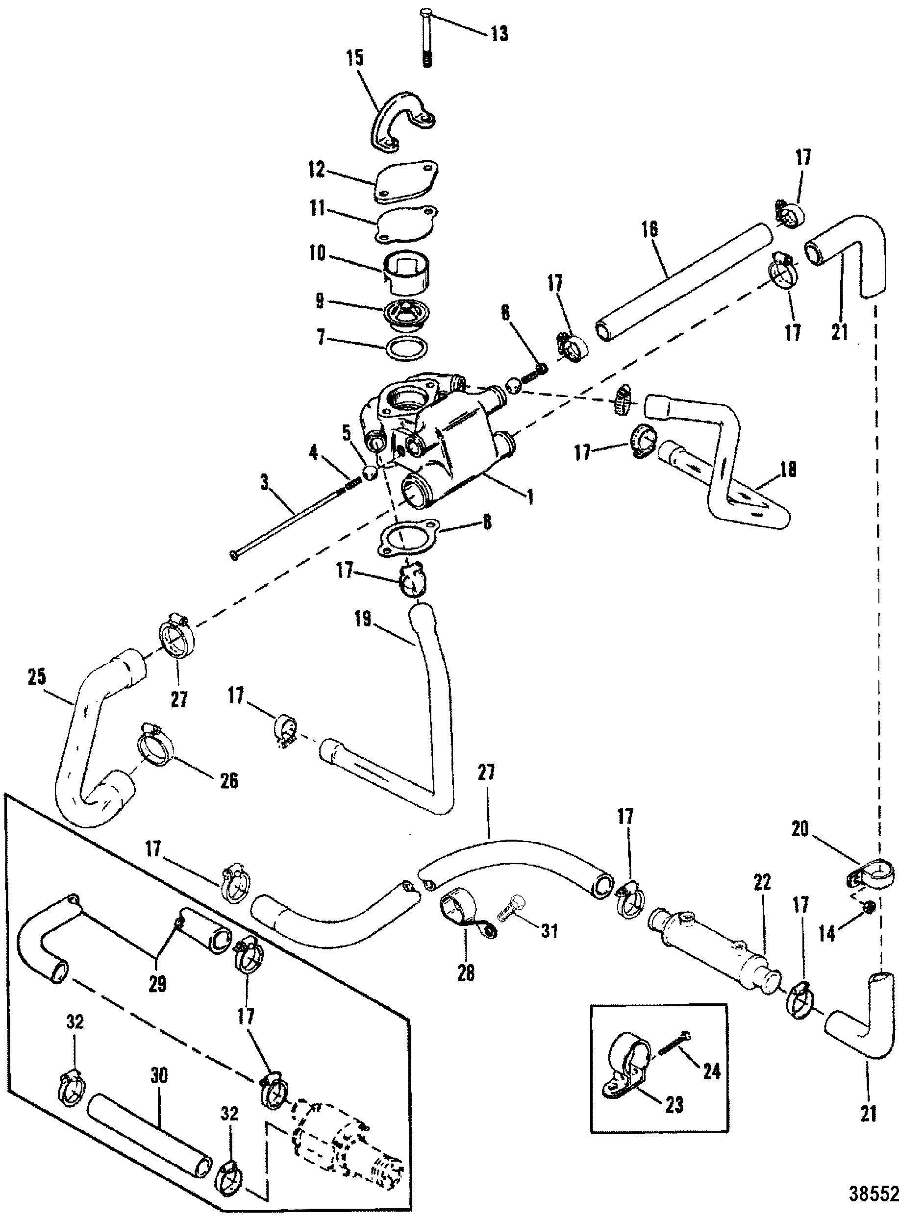 Show product likewise Show product together with Standard Cooling System 7 Point Drain further 1997 7 3l Engine Diagram as well Show product. on mercruiser power steering hose