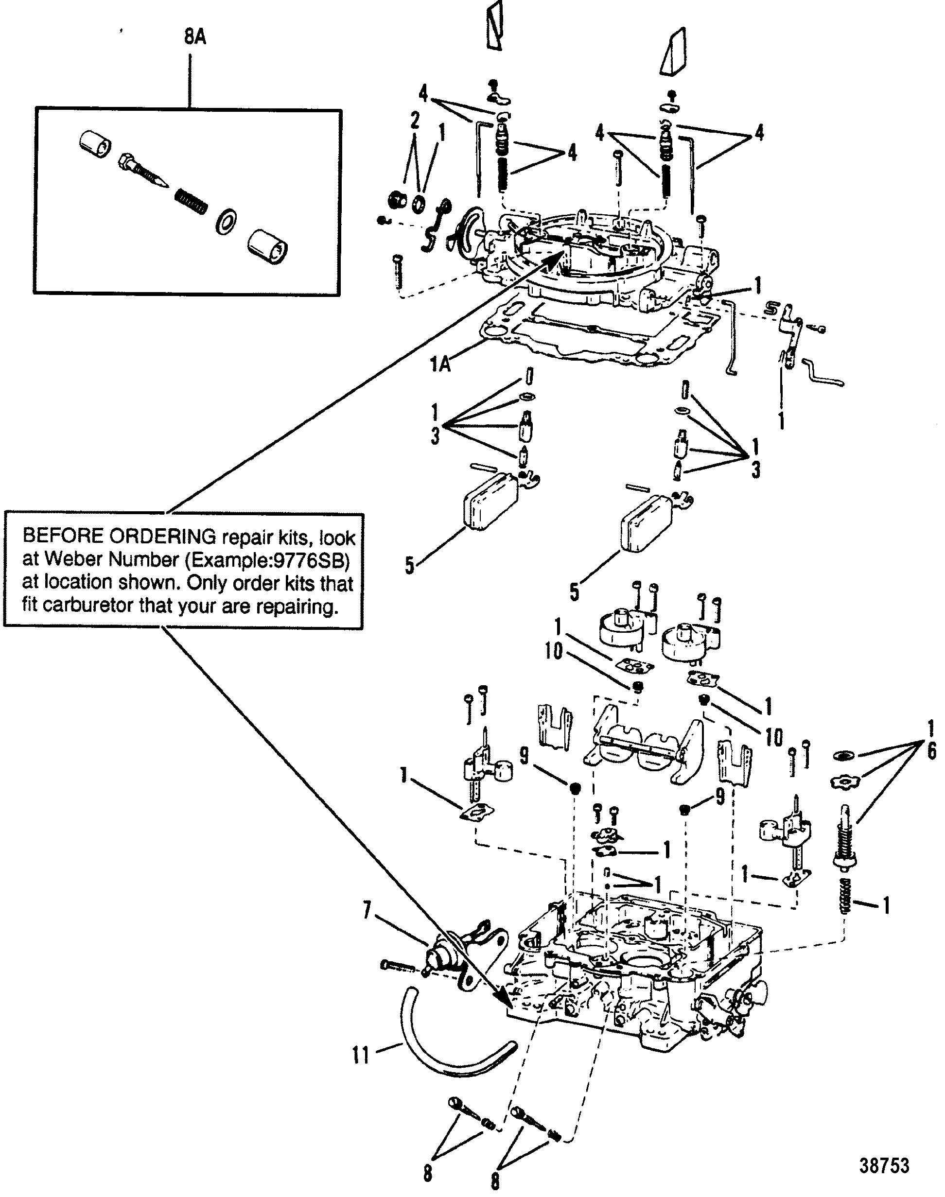 carburetor weber for mercruiser 4 3l 4 3lx alpha one engine 262 cid rebuilt mercruiser 4.3 engine carburetor(weber) for mercruiser 4 3l 4 3lx alpha one engine (262 cid) gen ii