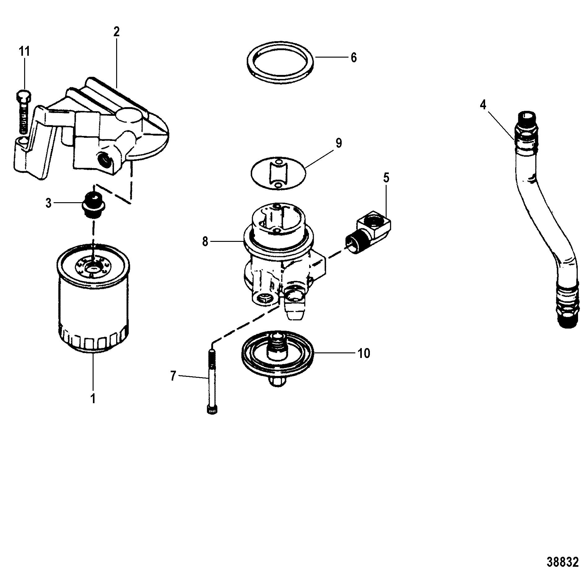 remote filter for mercruiser 4 3l 4 3lx alpha one engine 262 cid ii