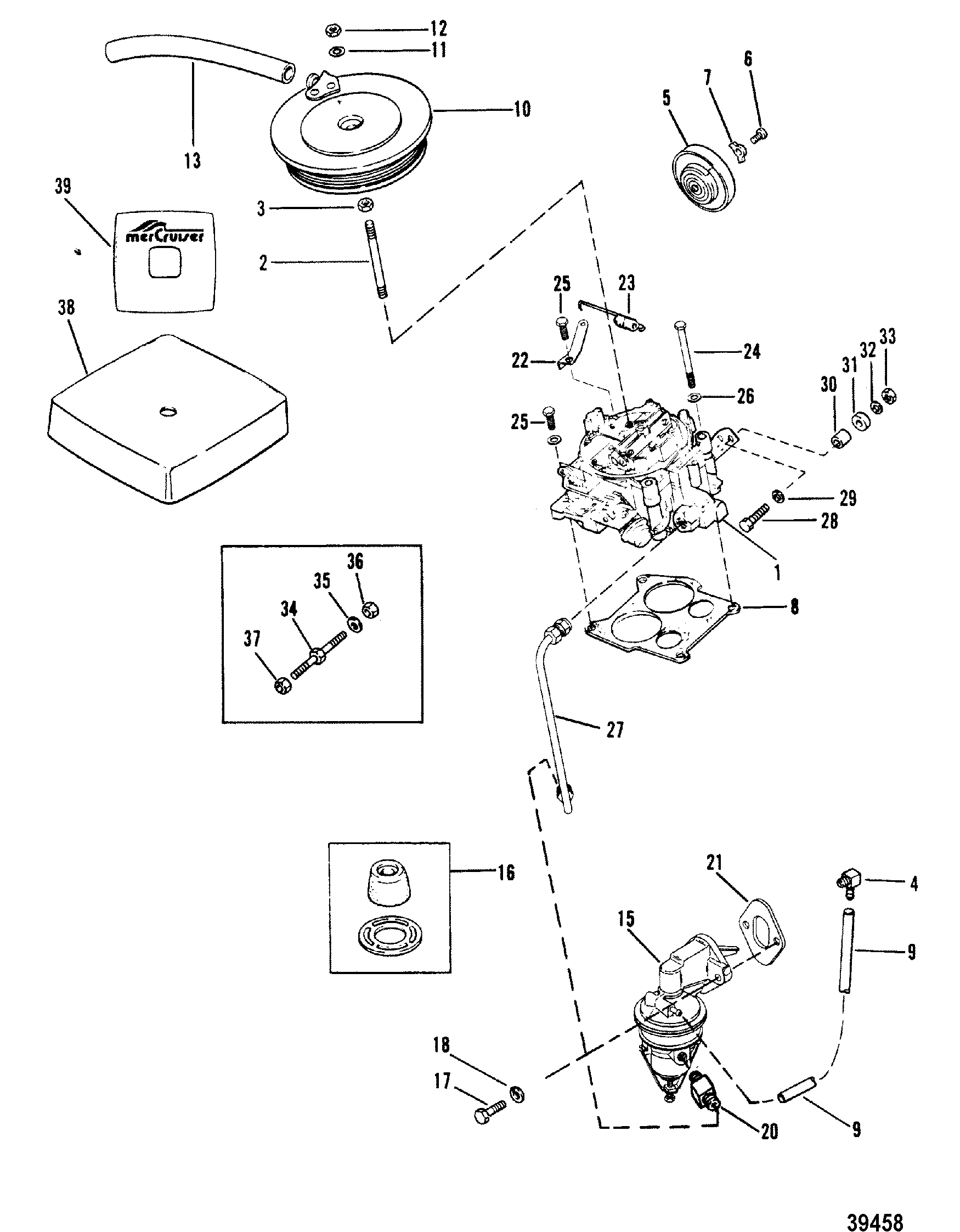 carburetor and fuel pump 180 lx for mercruiser