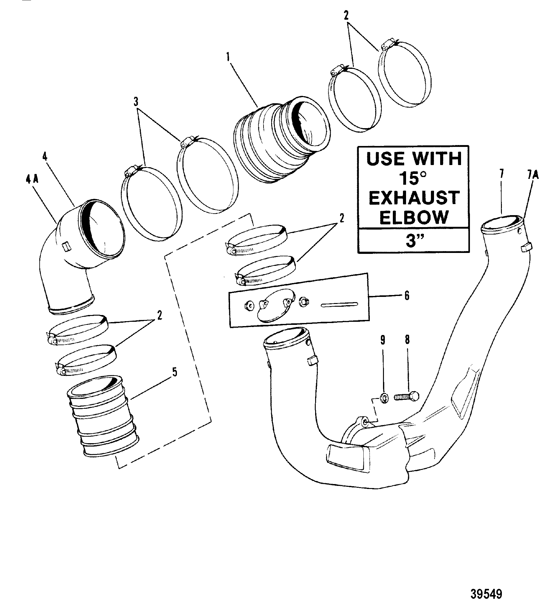 39549 exhaust system, use with 15 degree exhaust elbow for mercruiser 898