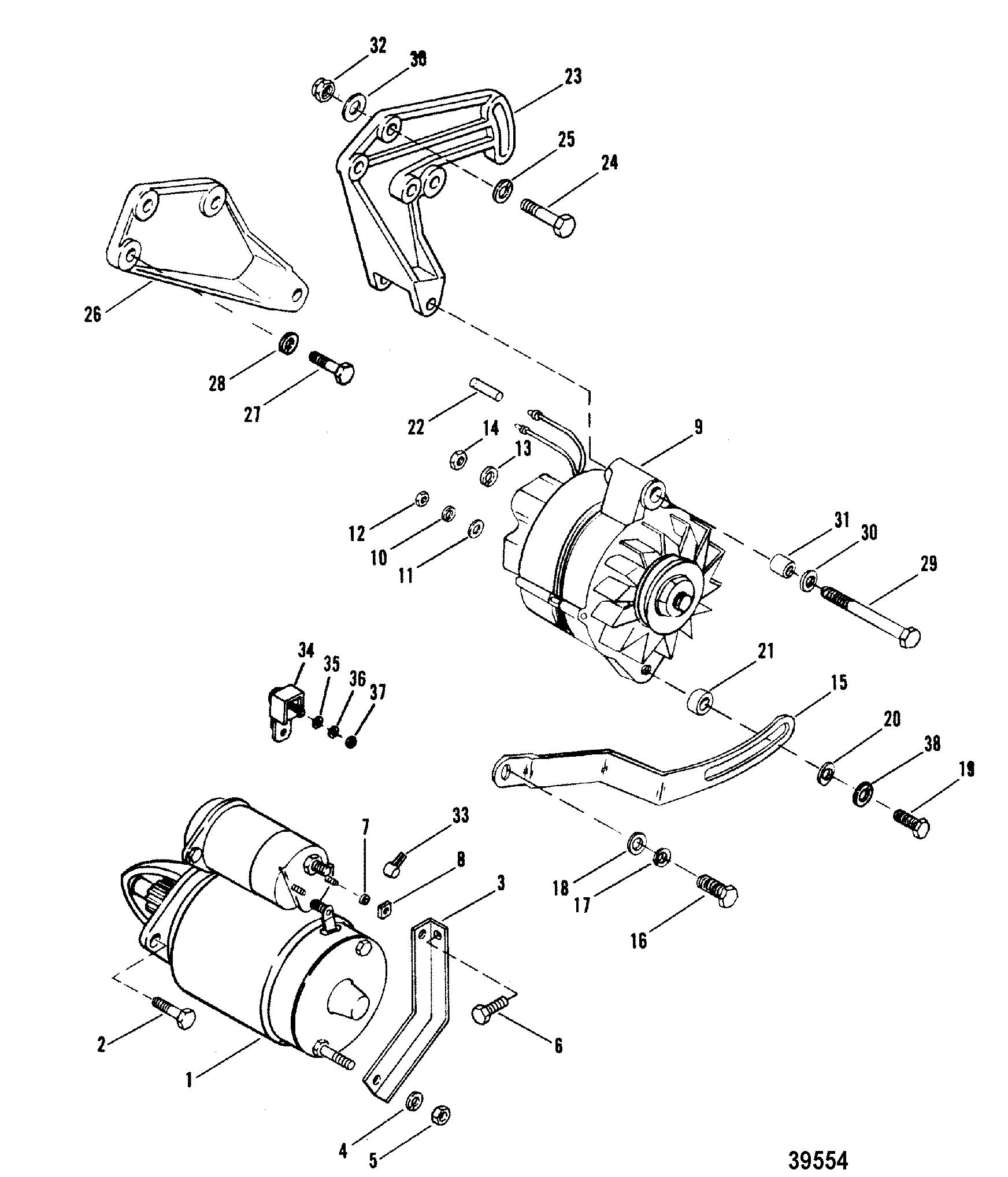 Starter Motor And Alternator For Mercruiser 898 200 228