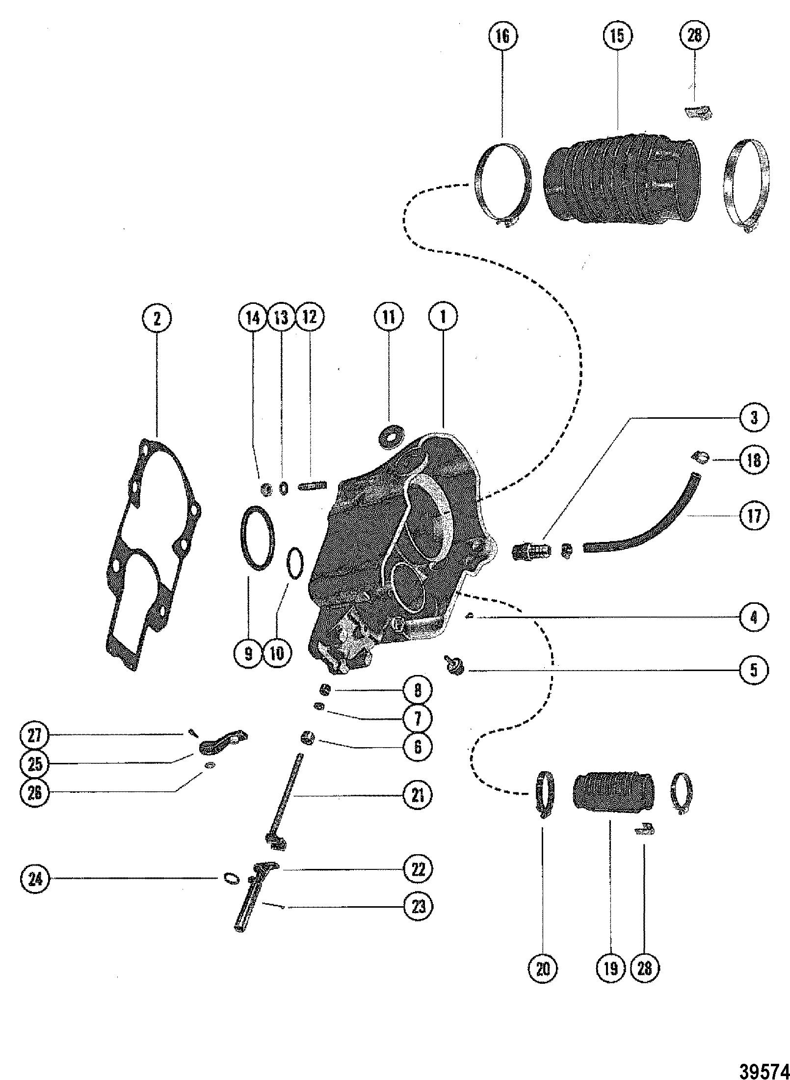 bell housing assembly for mercruiser 120  140 1 98 ratio