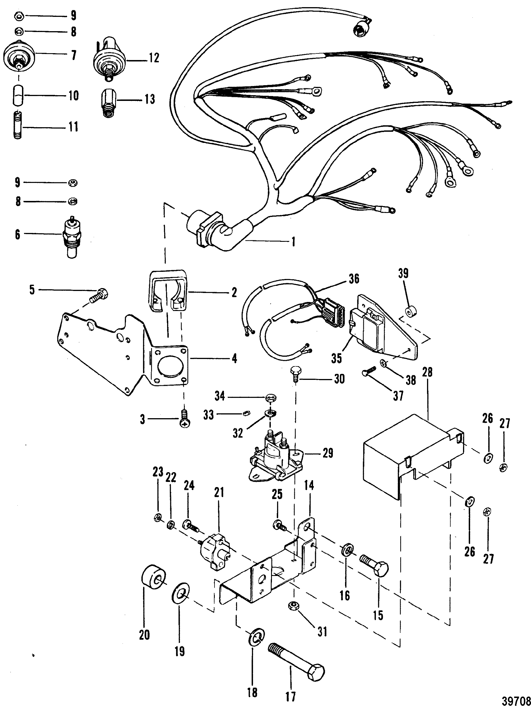 wiring harness and electrical components for mercruiser 4 3l 4 3lx outboard motor wiring harness wiring harness and electrical components for mercruiser 4 3l 4 3lx alpha one engine (262 cid)