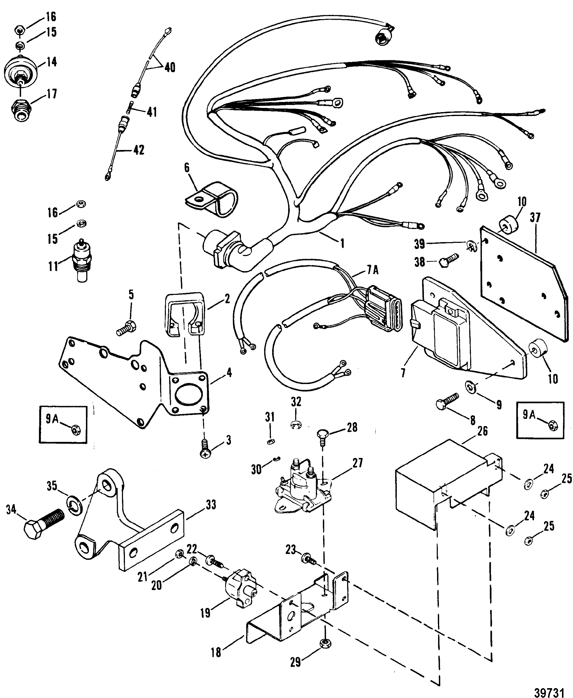 39731 wiring harness, electrical and ignition for mercruiser 7 4l bravo mercruiser wiring harness at mifinder.co
