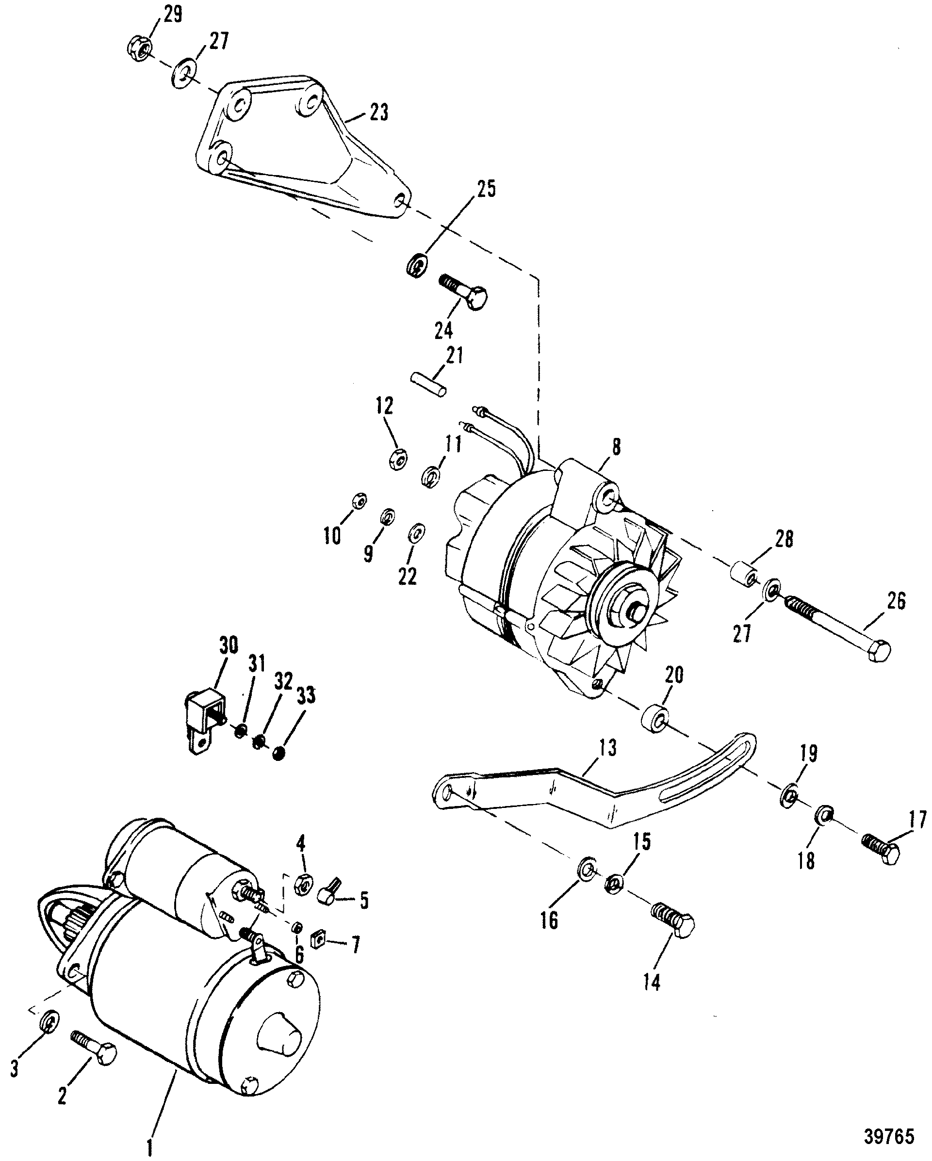 starter and alternator for mercruiser    mie 230 hp  260 h p