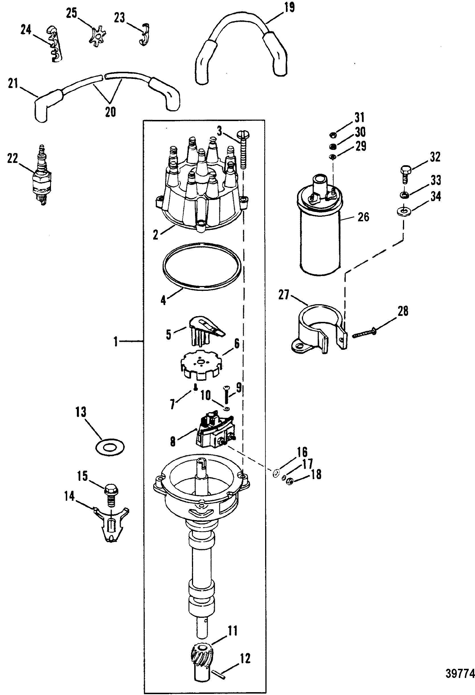 distributor and ignition components for mercruiser    mie