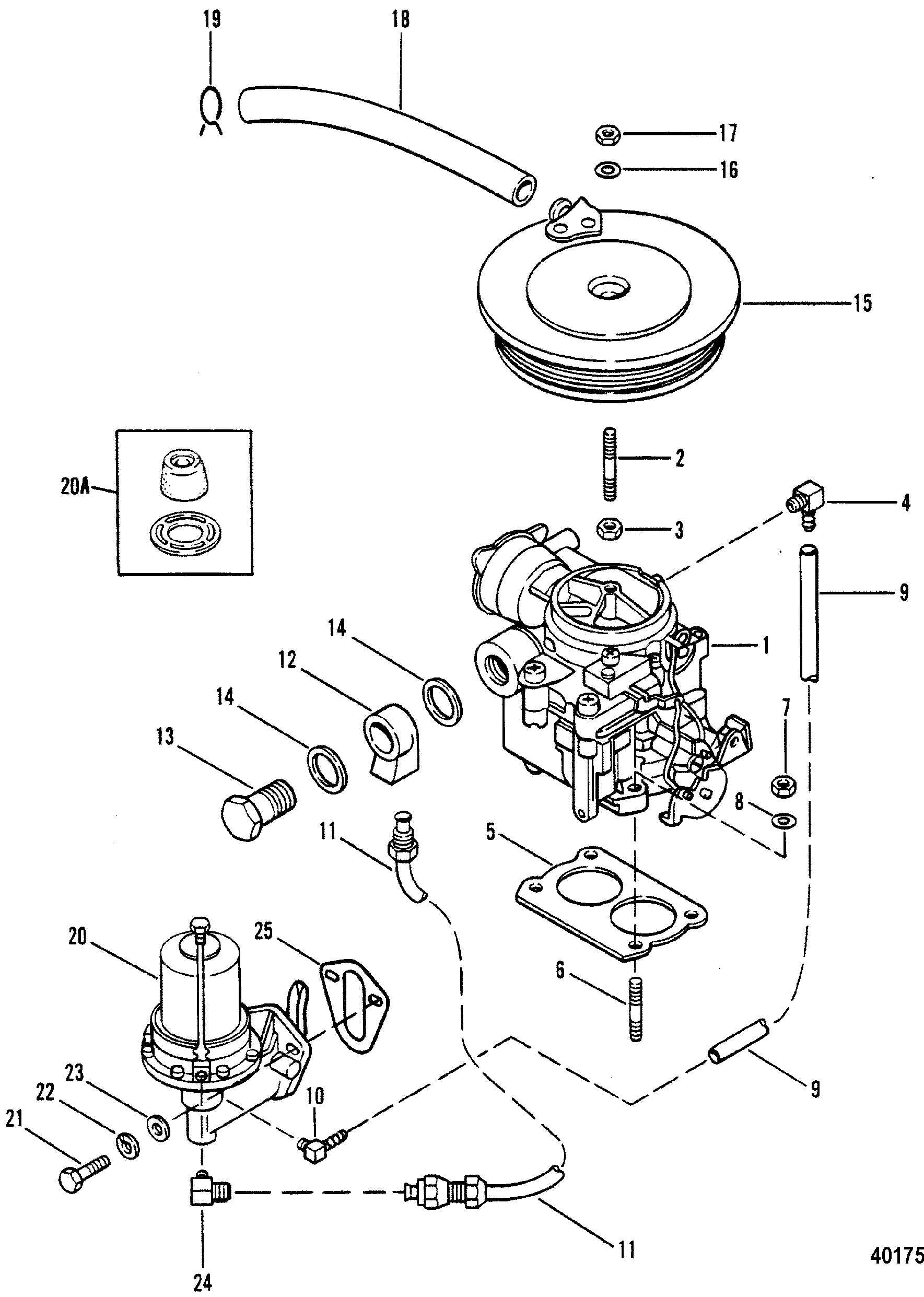 CARBURETOR AND FUEL PUMP FOR MERCRUISER 470 ENGINE