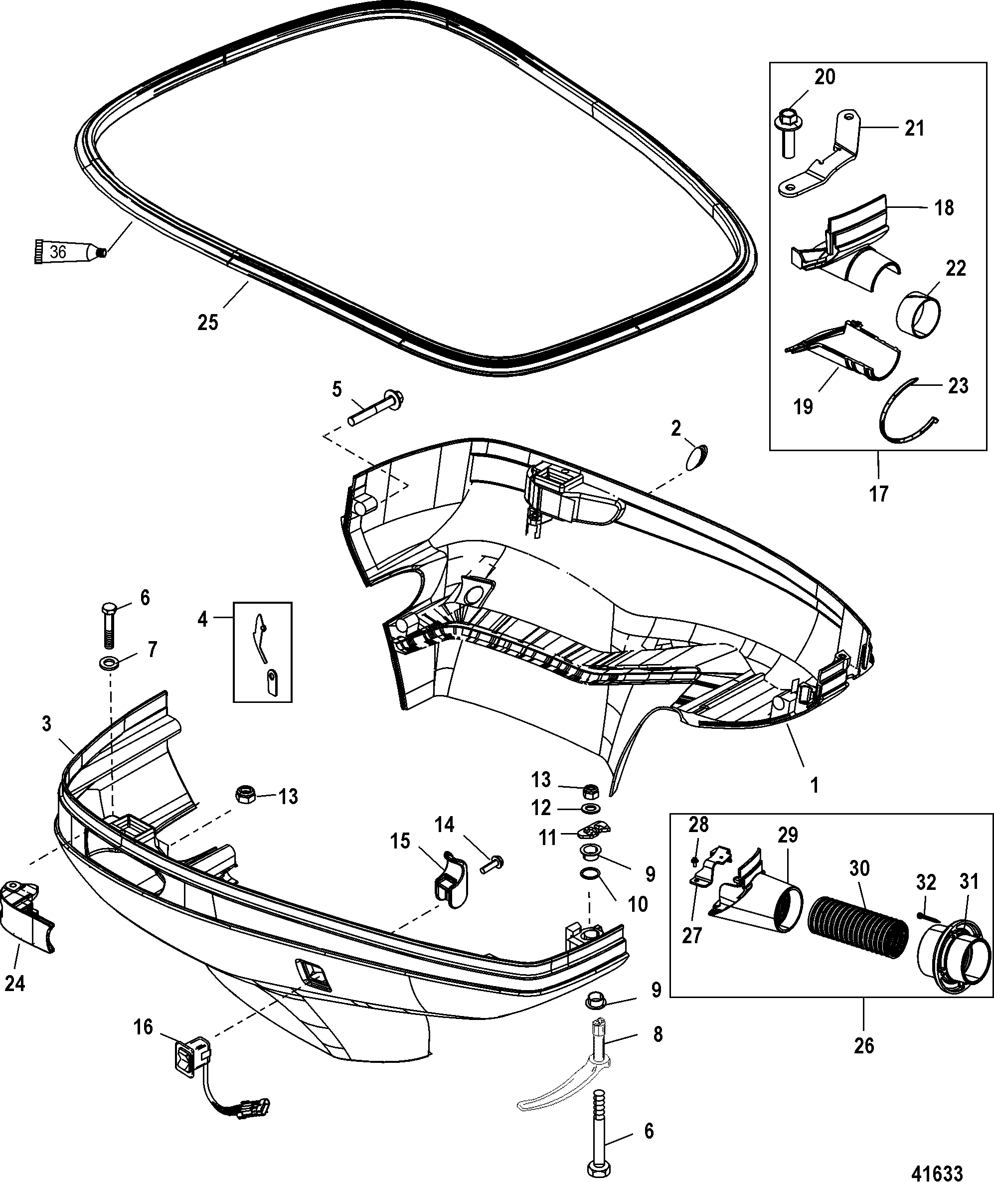 bottom cowl for mercury 200 optimax v6 dfi
