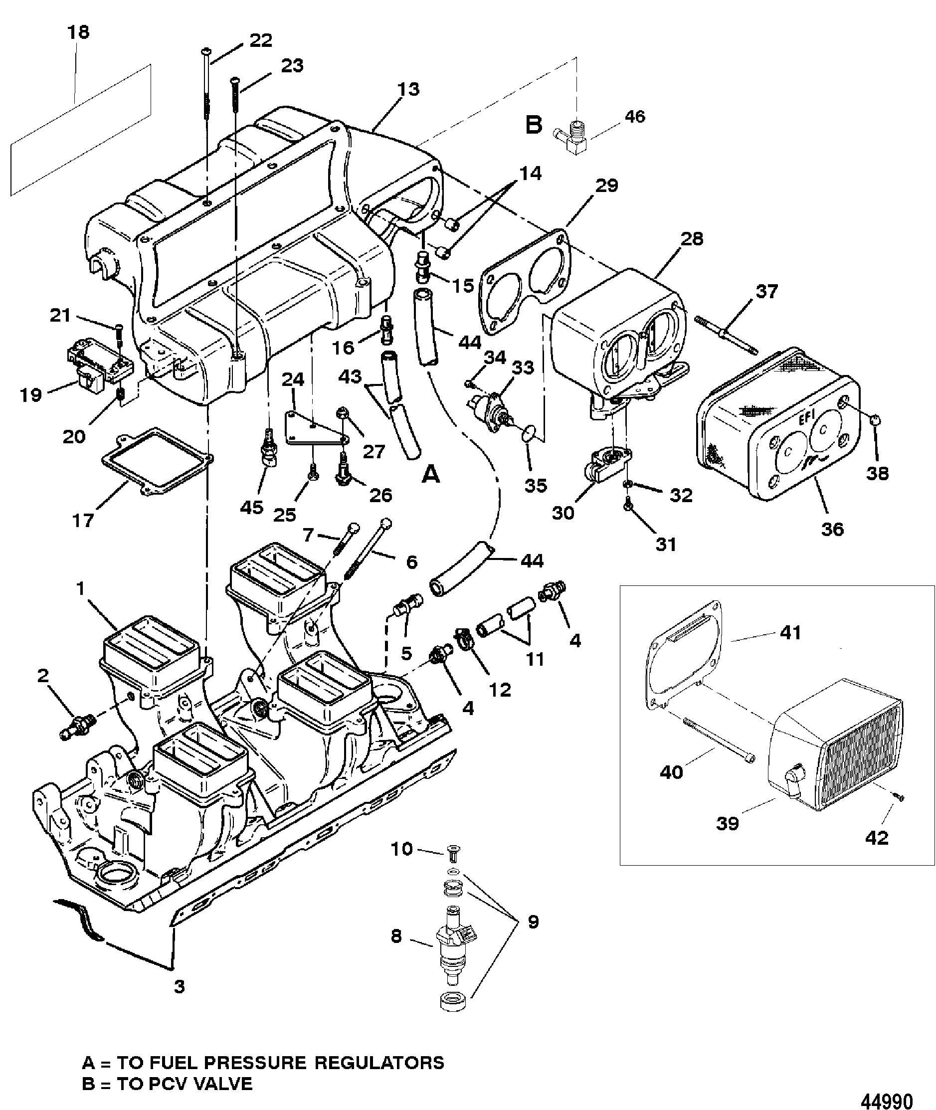 intake manifold and intake plenum for mercruiser 7 4 lx