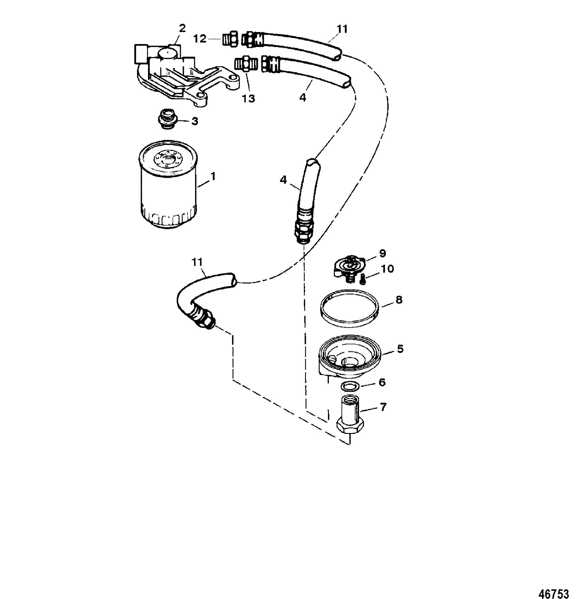 oil filter and adaptor for mercruiser 350 magnum alpha efi