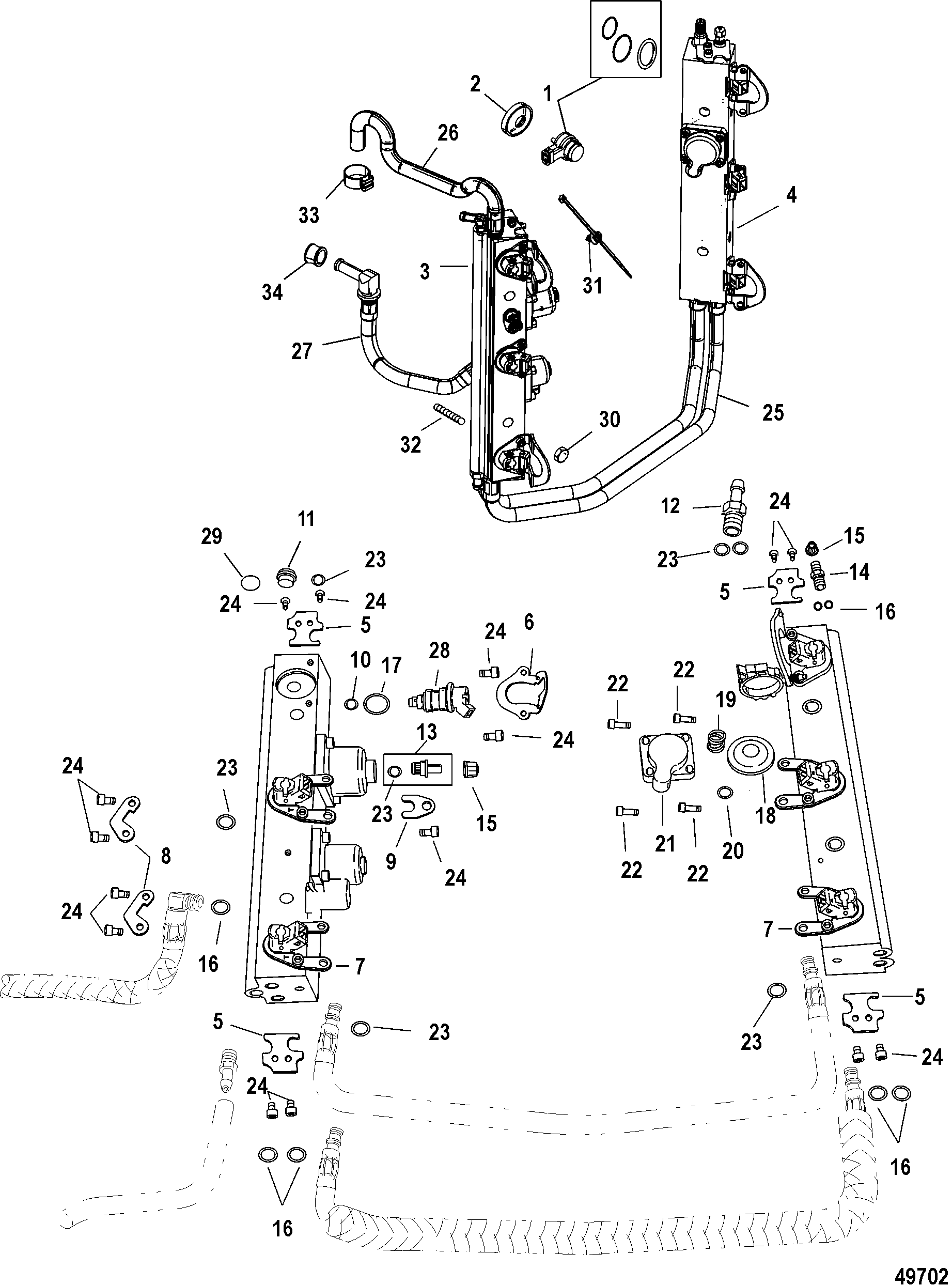 mercury 150 efi water pump diagram