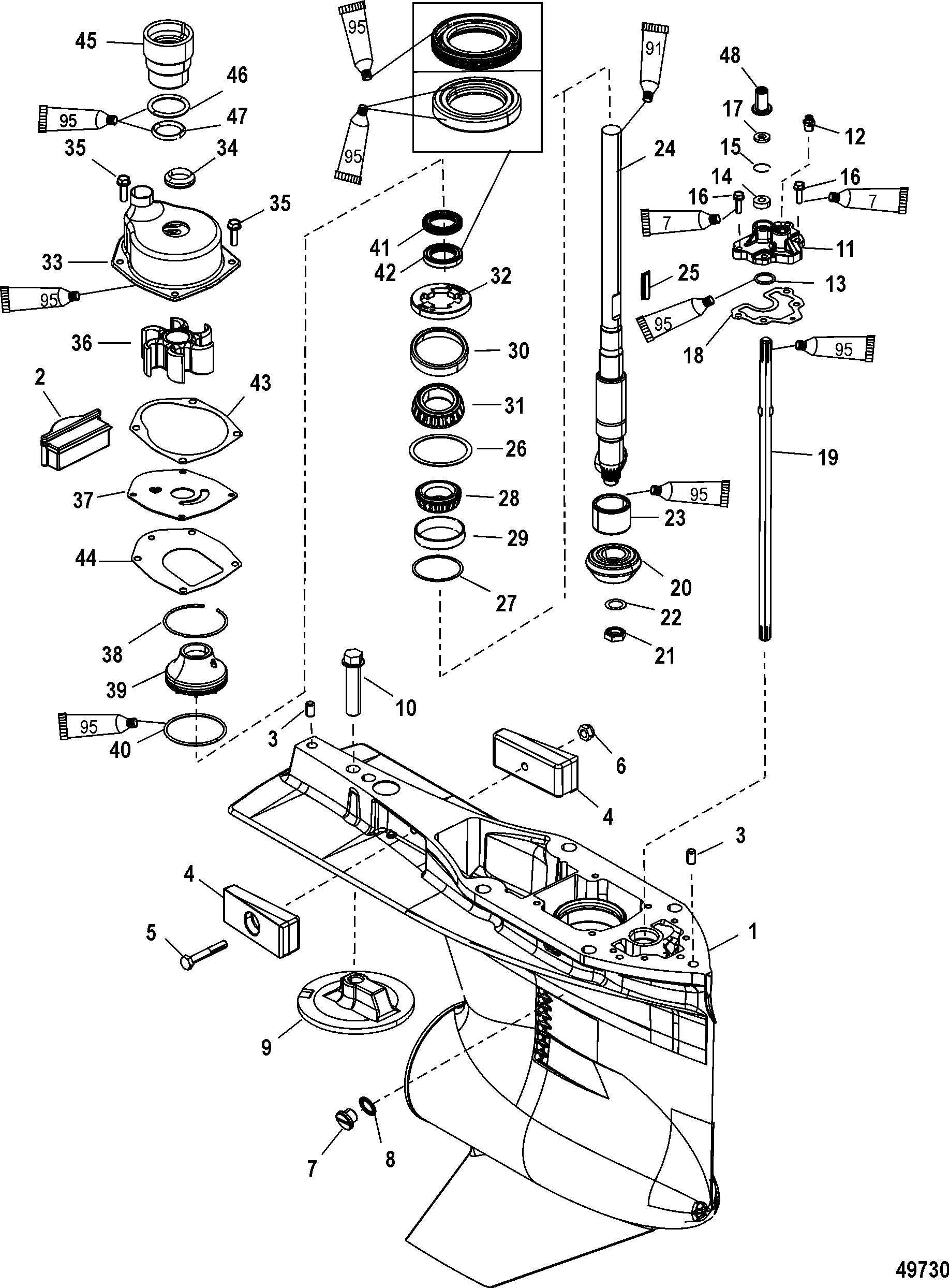 gear housing  driveshaft counter rotation for