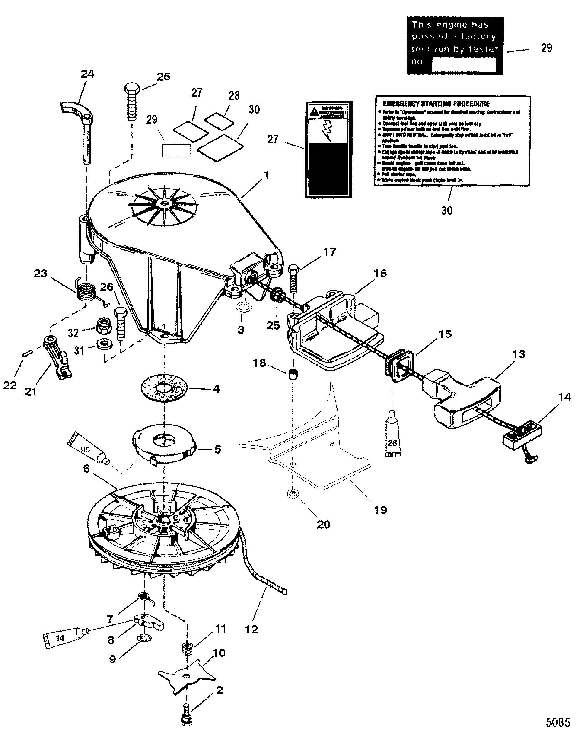 Starter Assembly(Manual) FOR MARINER / MERCURY 20/25/JET 20 - 20/25  SEAPRO/MARATHON (2-STROKE)