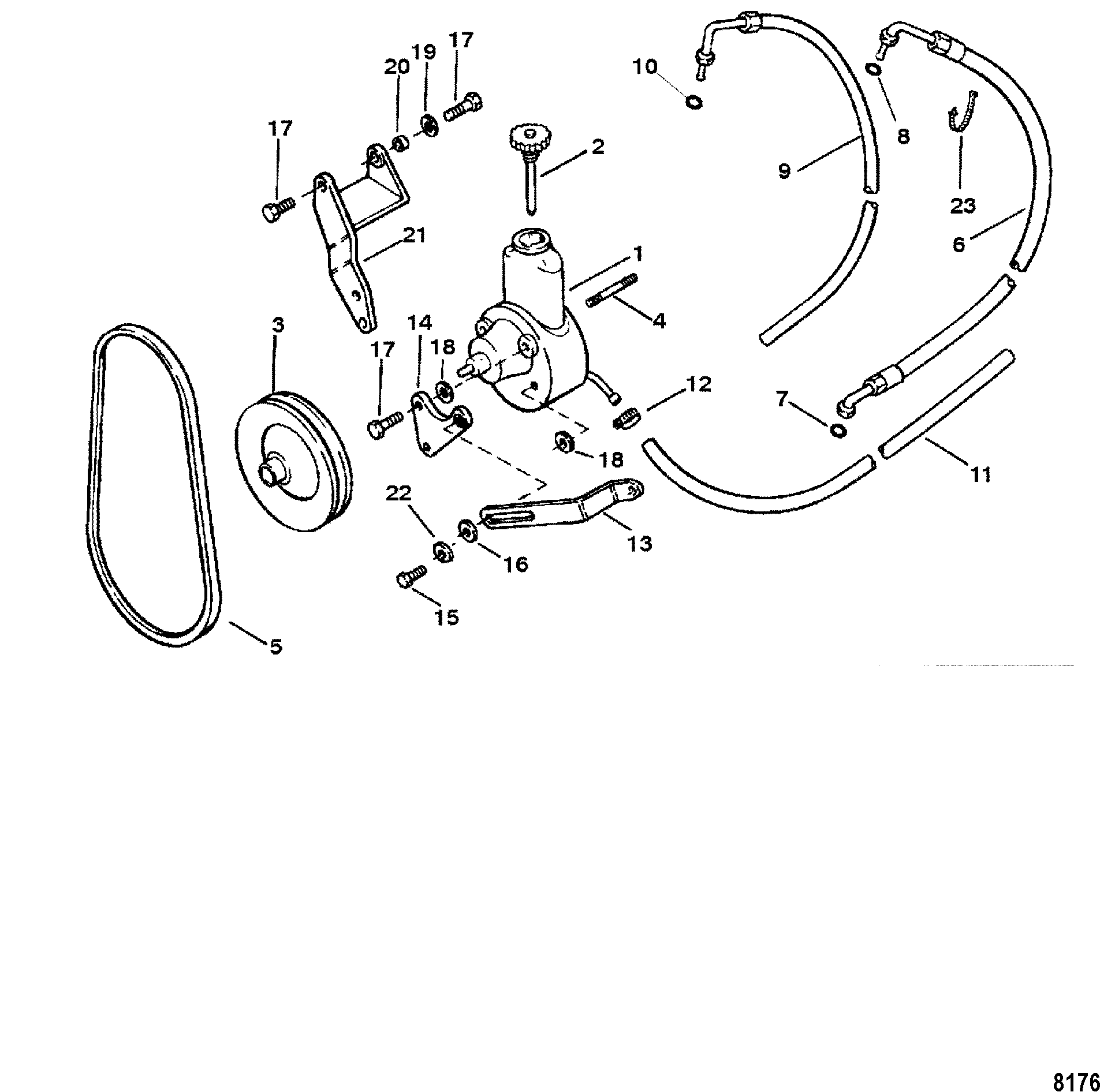 power steering pump assembly for mercruiser 3 0l  lx alpha one