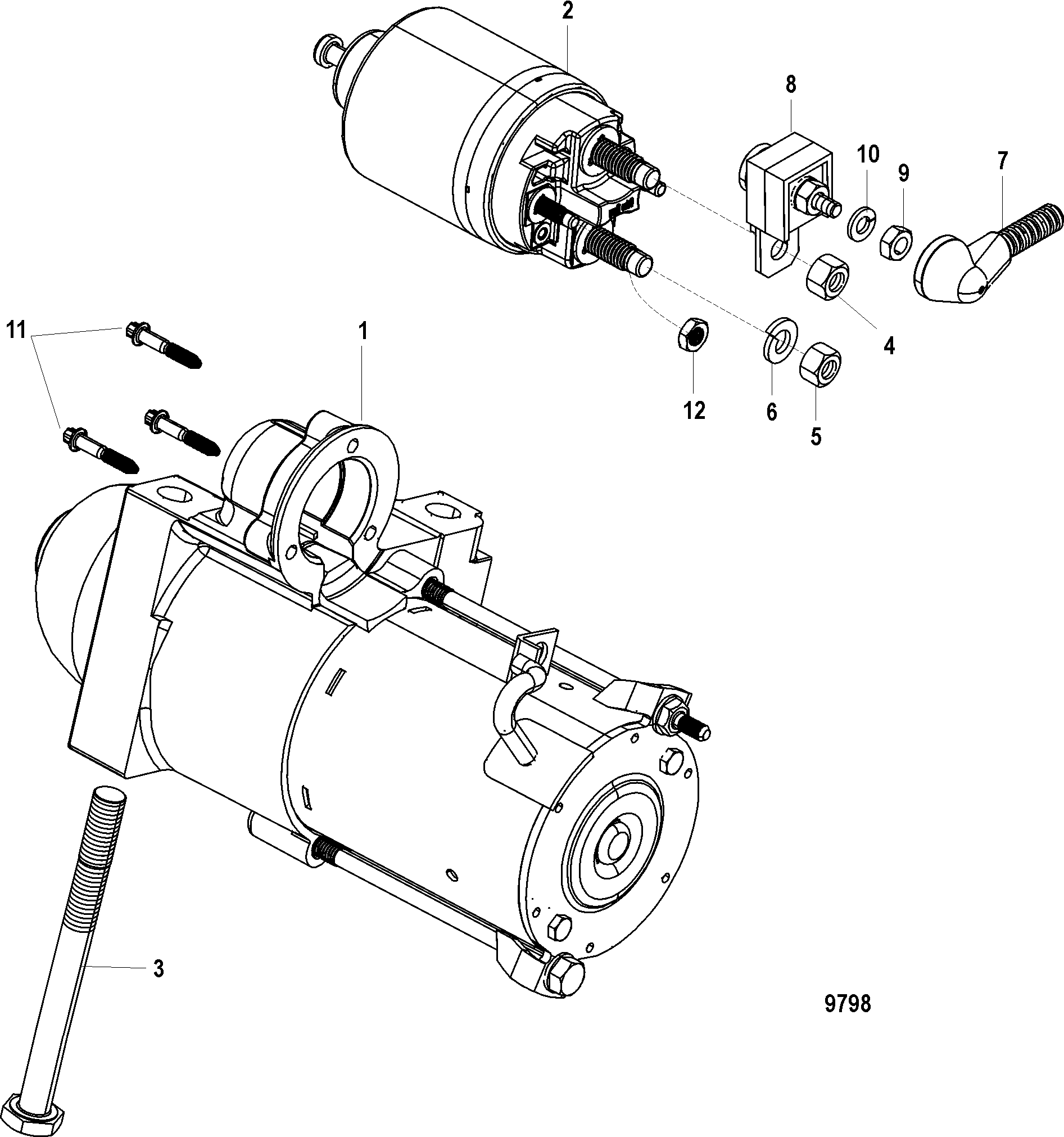 9798 starter motor for mercruiser 5 0l 5 7l sterndrive 5.0 Mercruiser Parts Diagram at nearapp.co