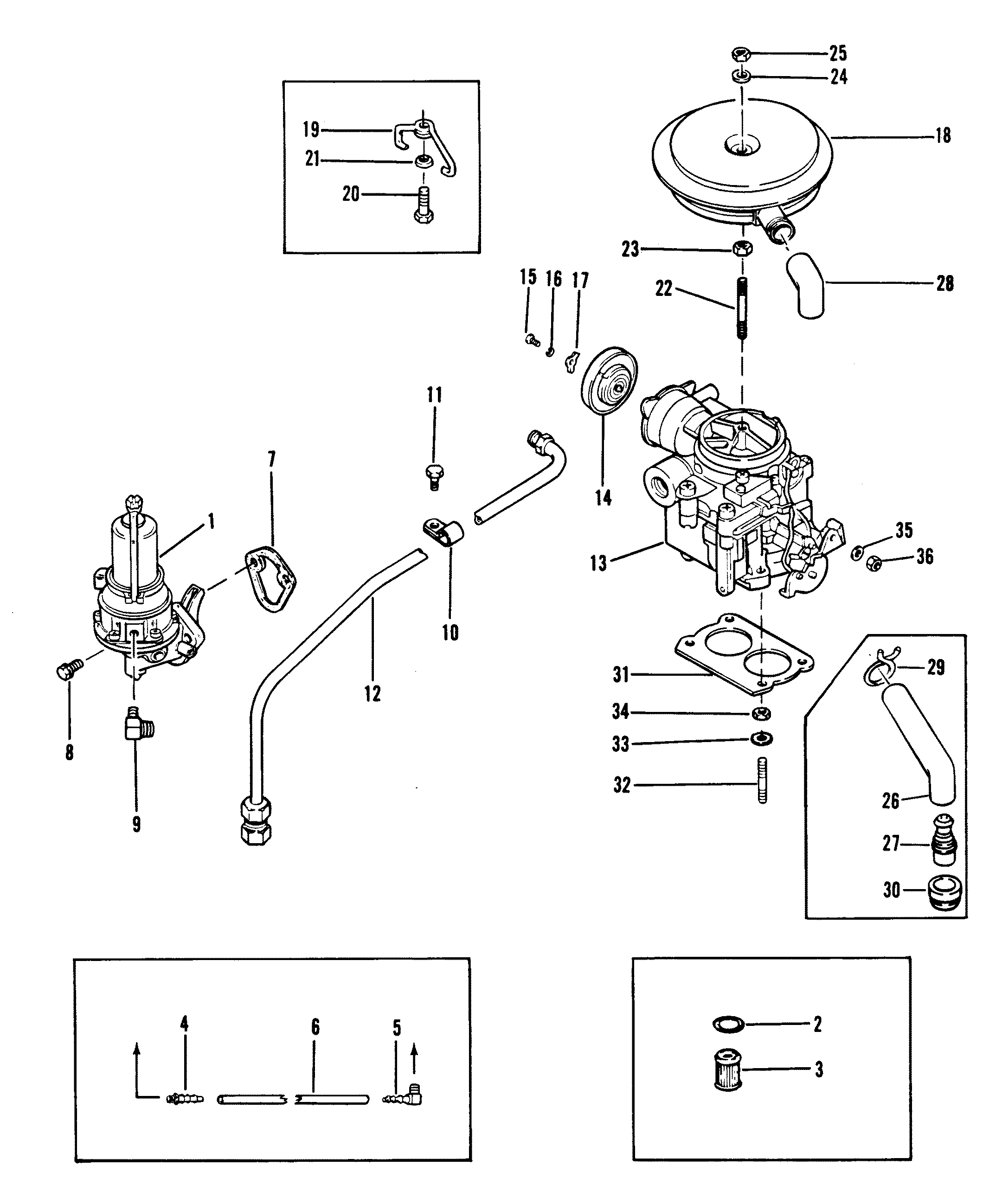 fuel pump and carburetor old design for mercruiser 120 h p