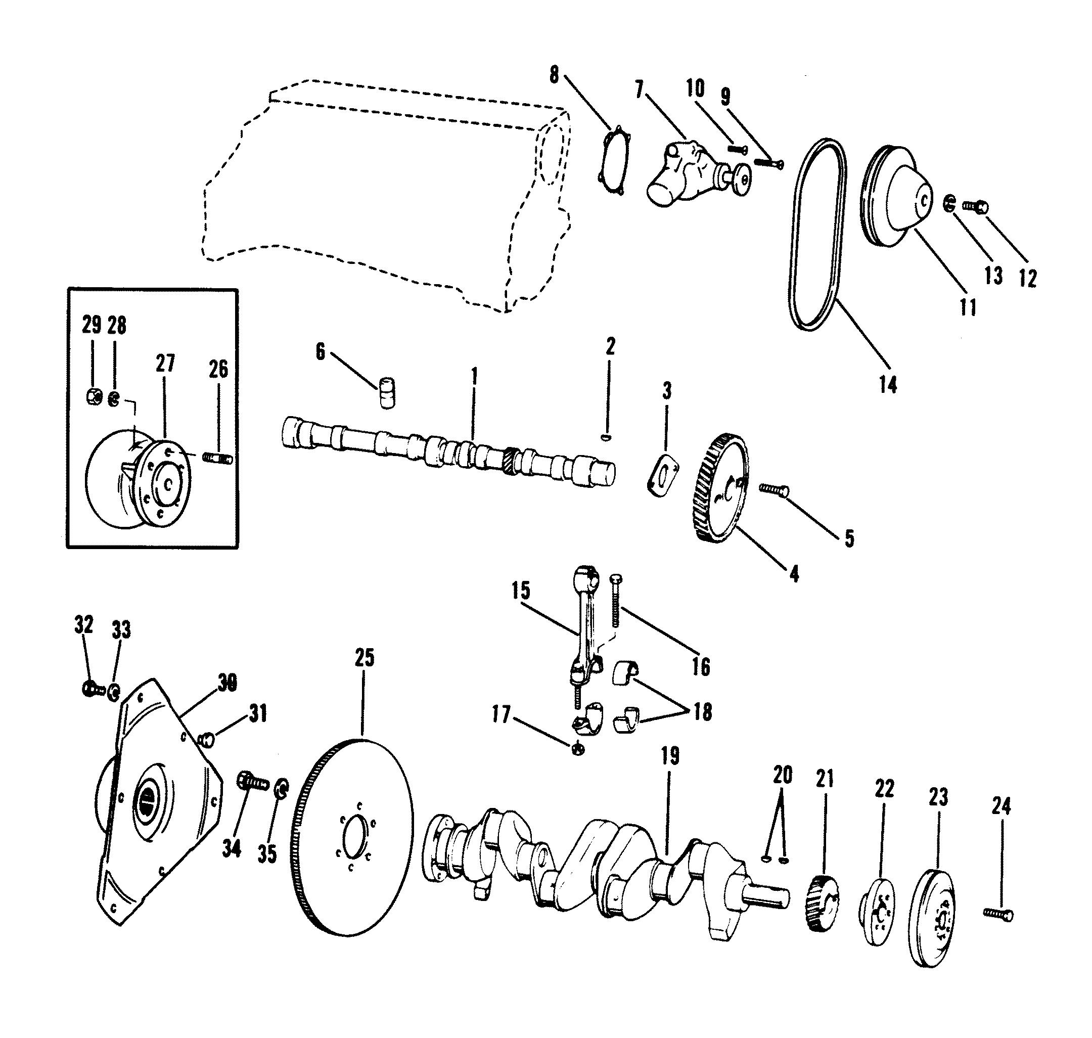 crankshaft  camshaft  water pump 120 135 cid for