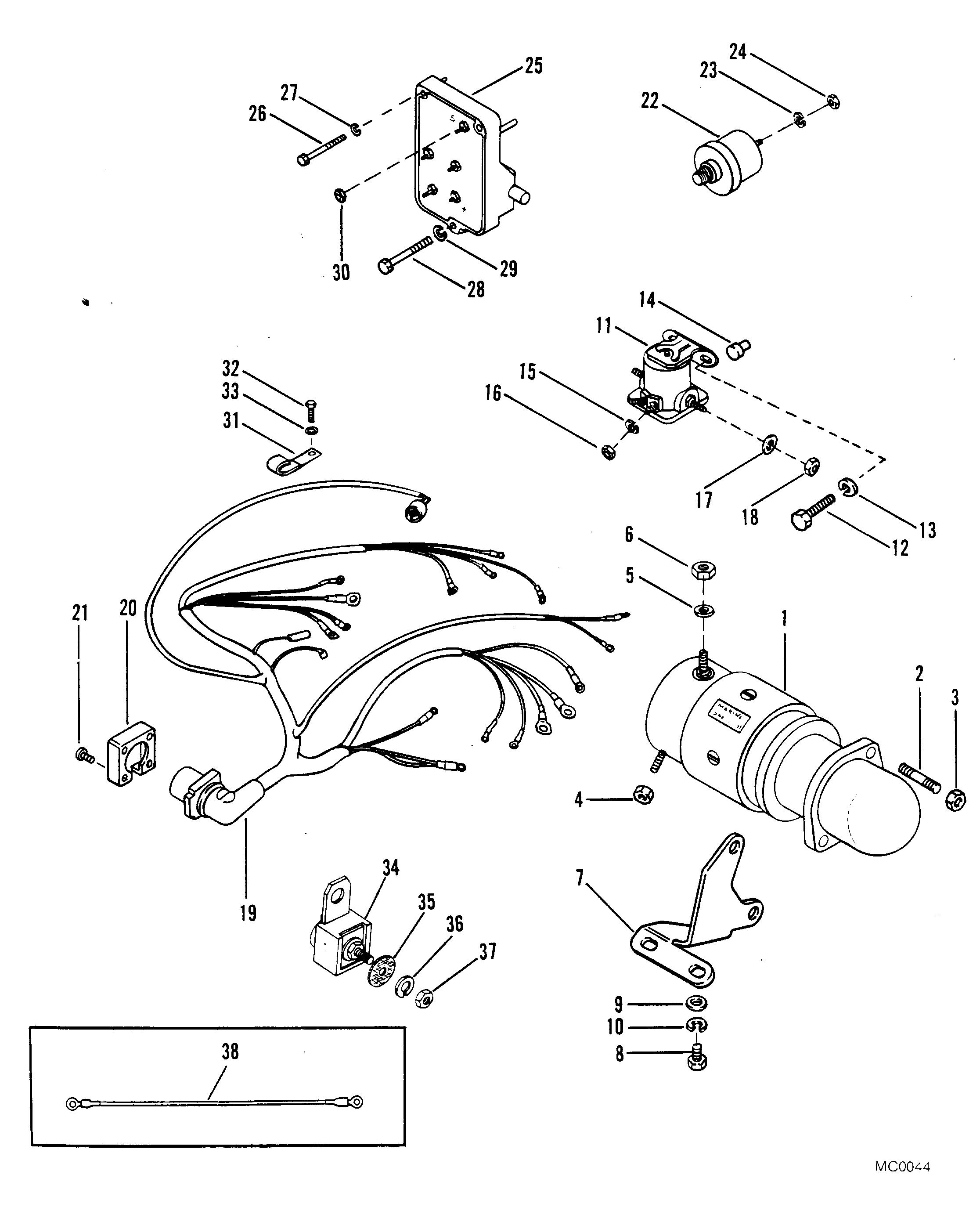 starter motor and wiring harness for mercruiser 488r engine