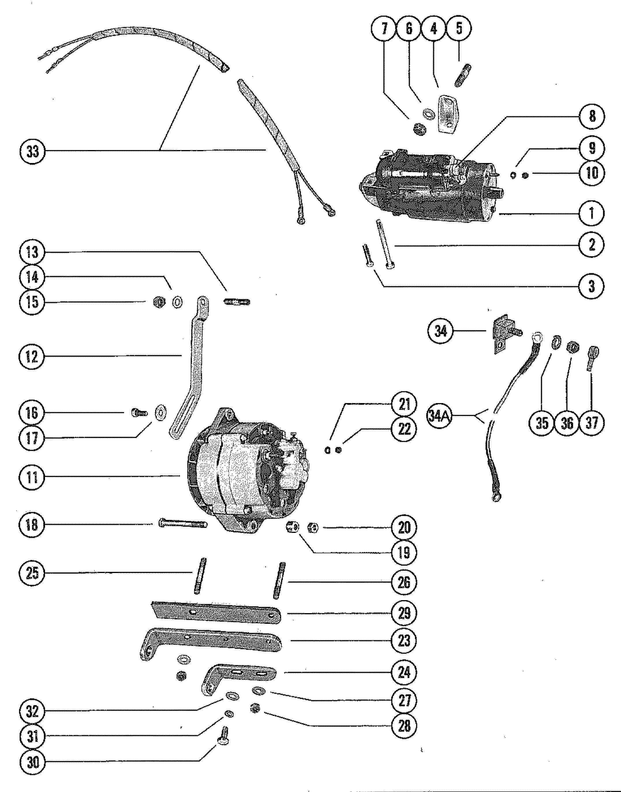 starter motor and alternator for mercruiser 165 engine