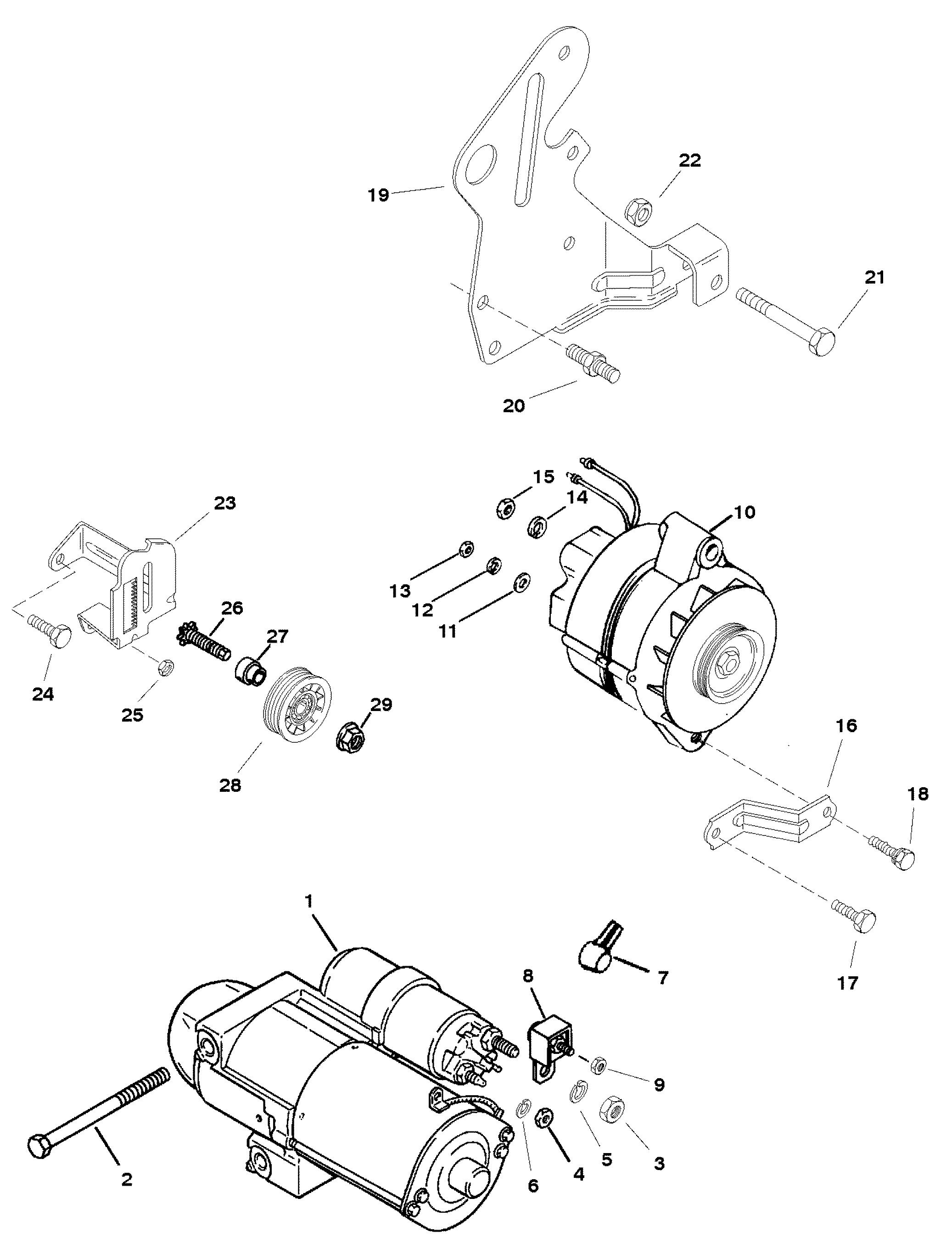 starter motor and alternator for mercruiser 5 7lx tbi brav0 350 tbi mag alpha efi