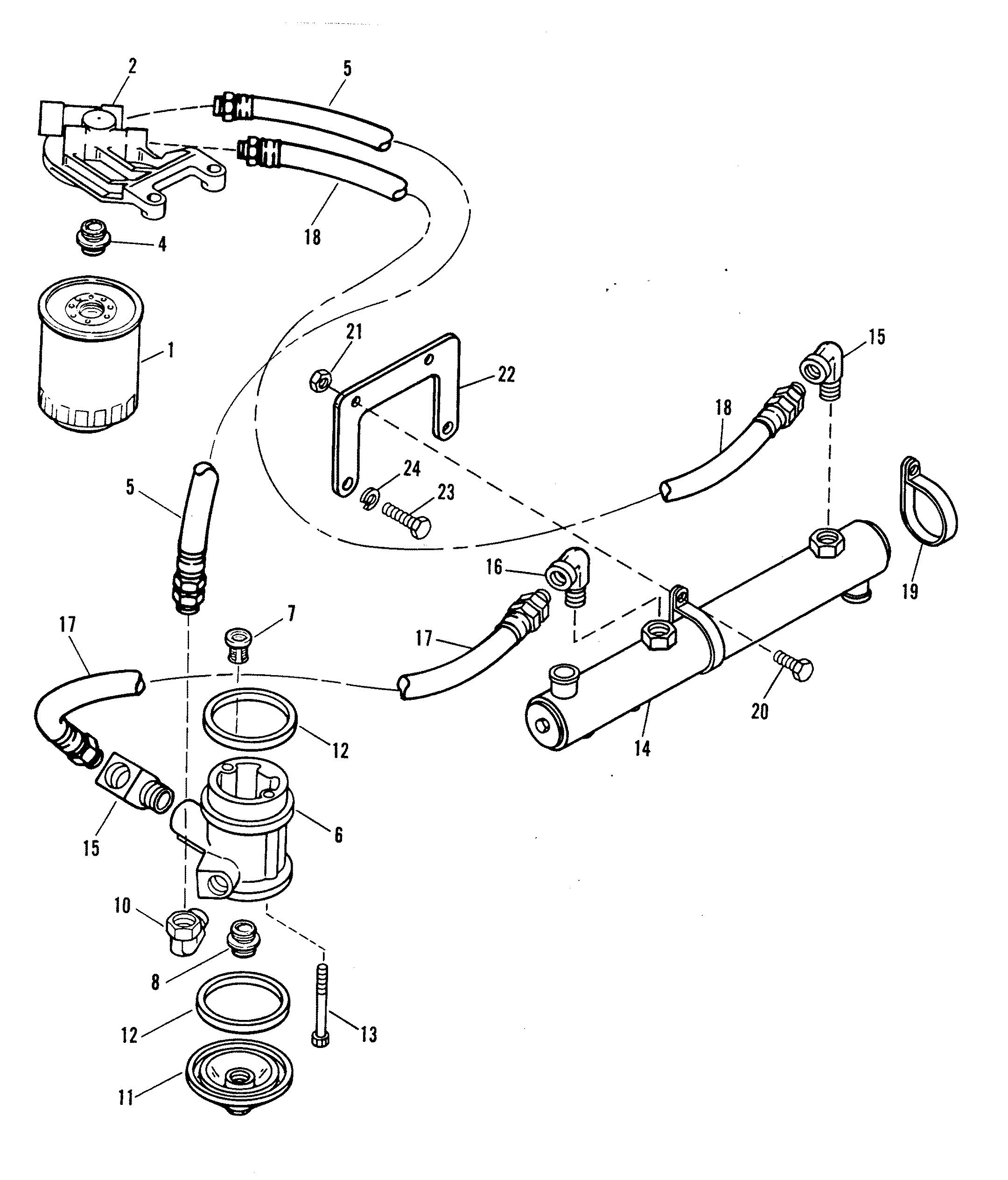 oil filter and adaptor for mercruiser 502 magnum bravo engine